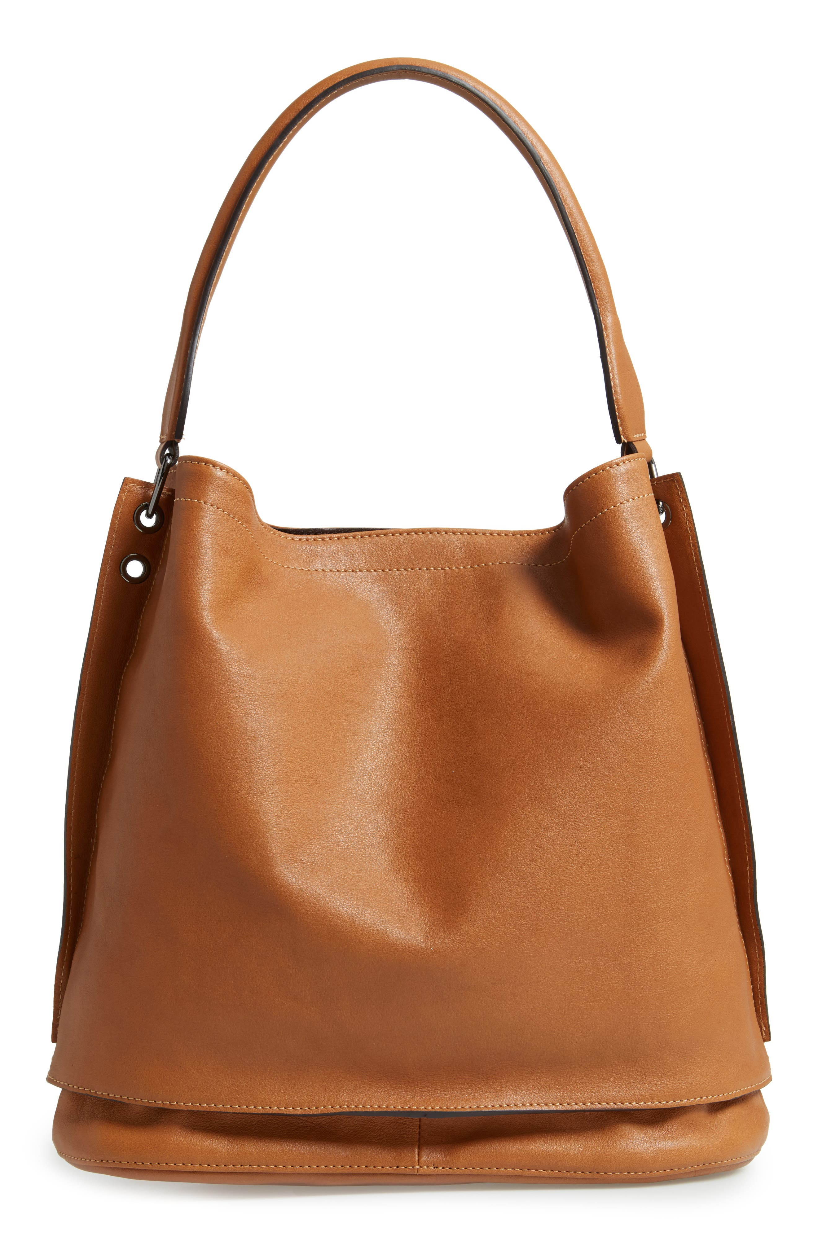 '3D' Leather Hobo,                             Alternate thumbnail 3, color,                             NATURAL