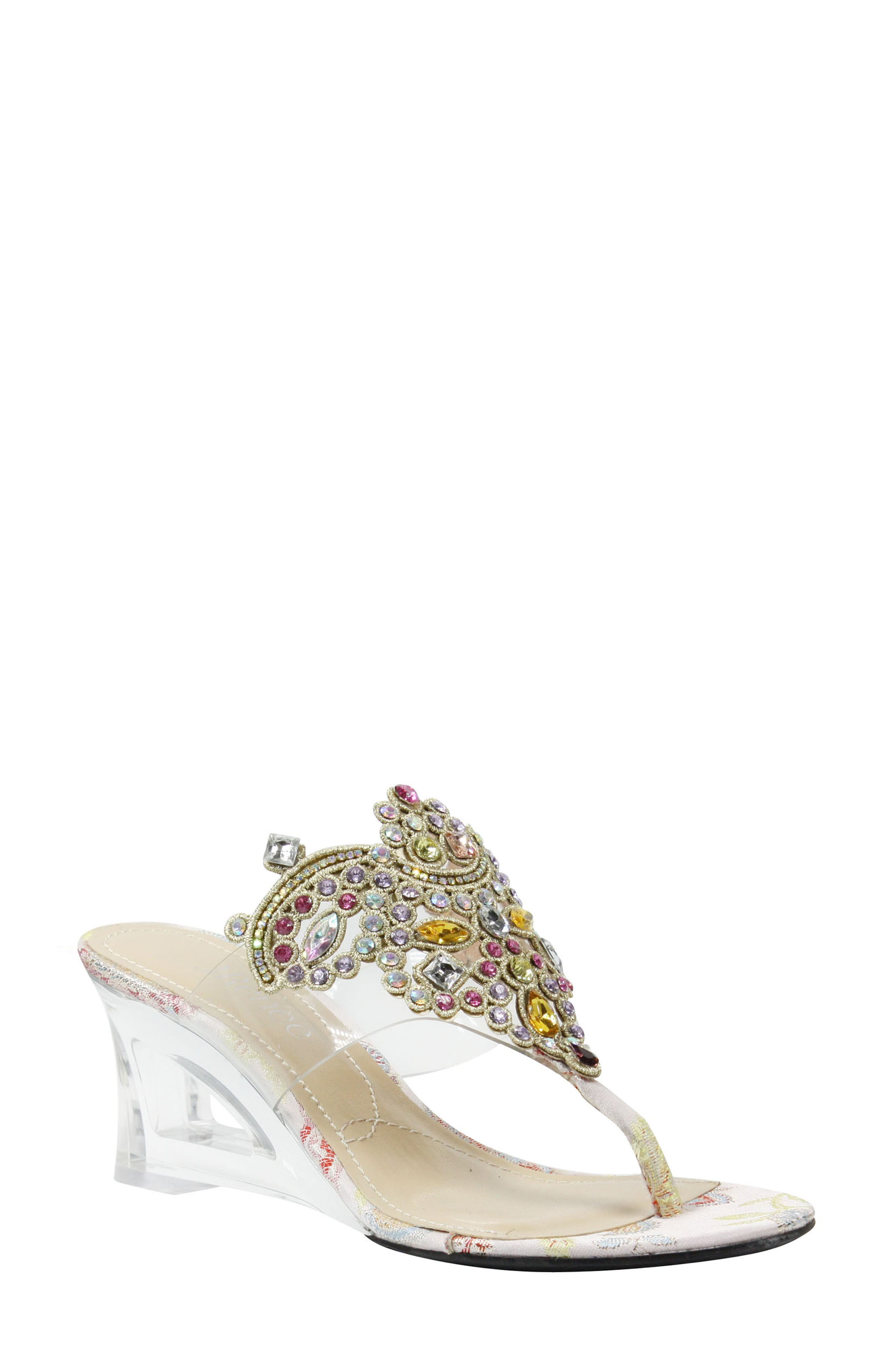 Victorina Embellished Wedge Mule,                         Main,                         color, CLEAR/ PASTEL FABRIC