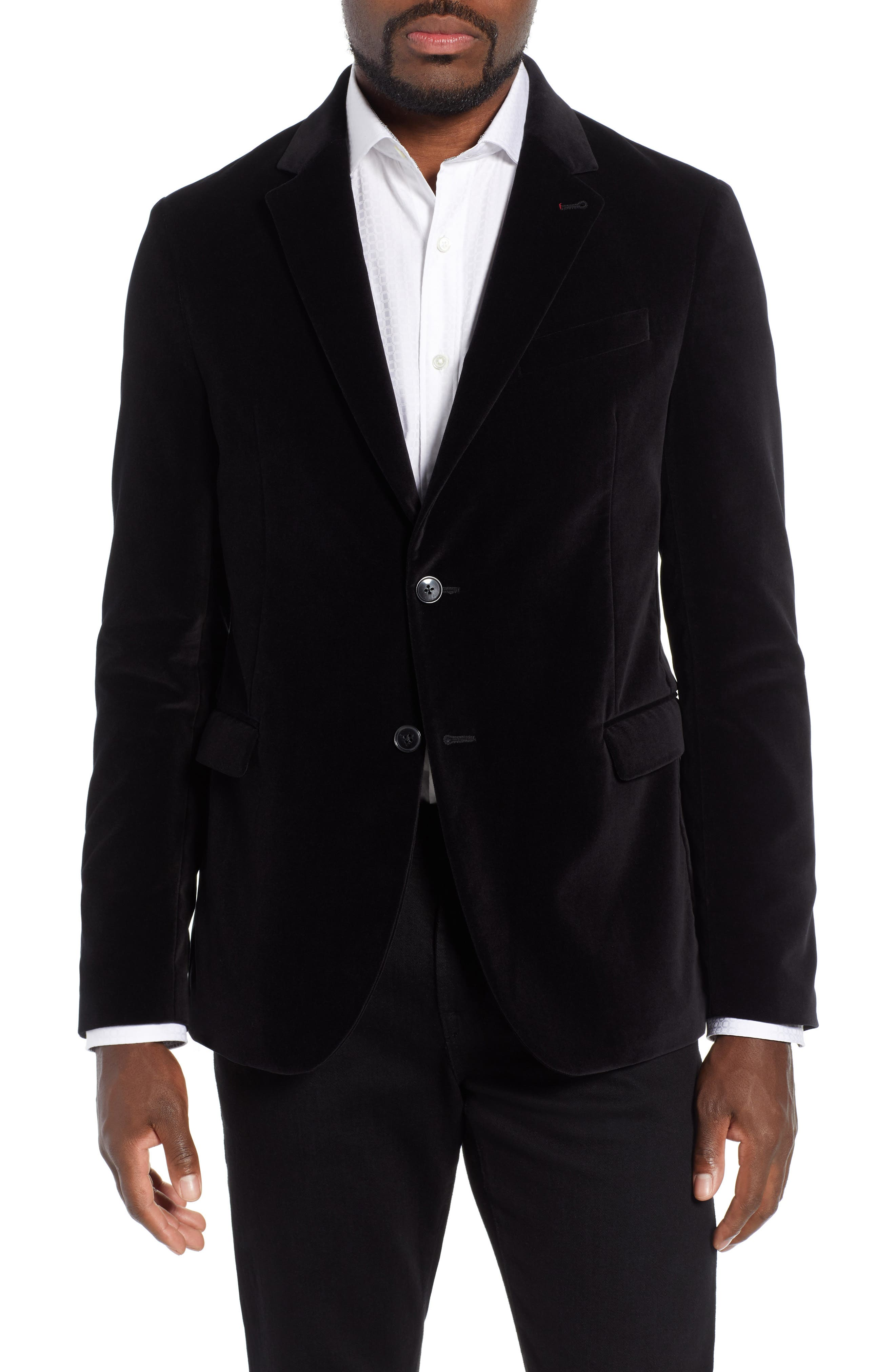 Velveteen Blazer,                         Main,                         color, BLACK