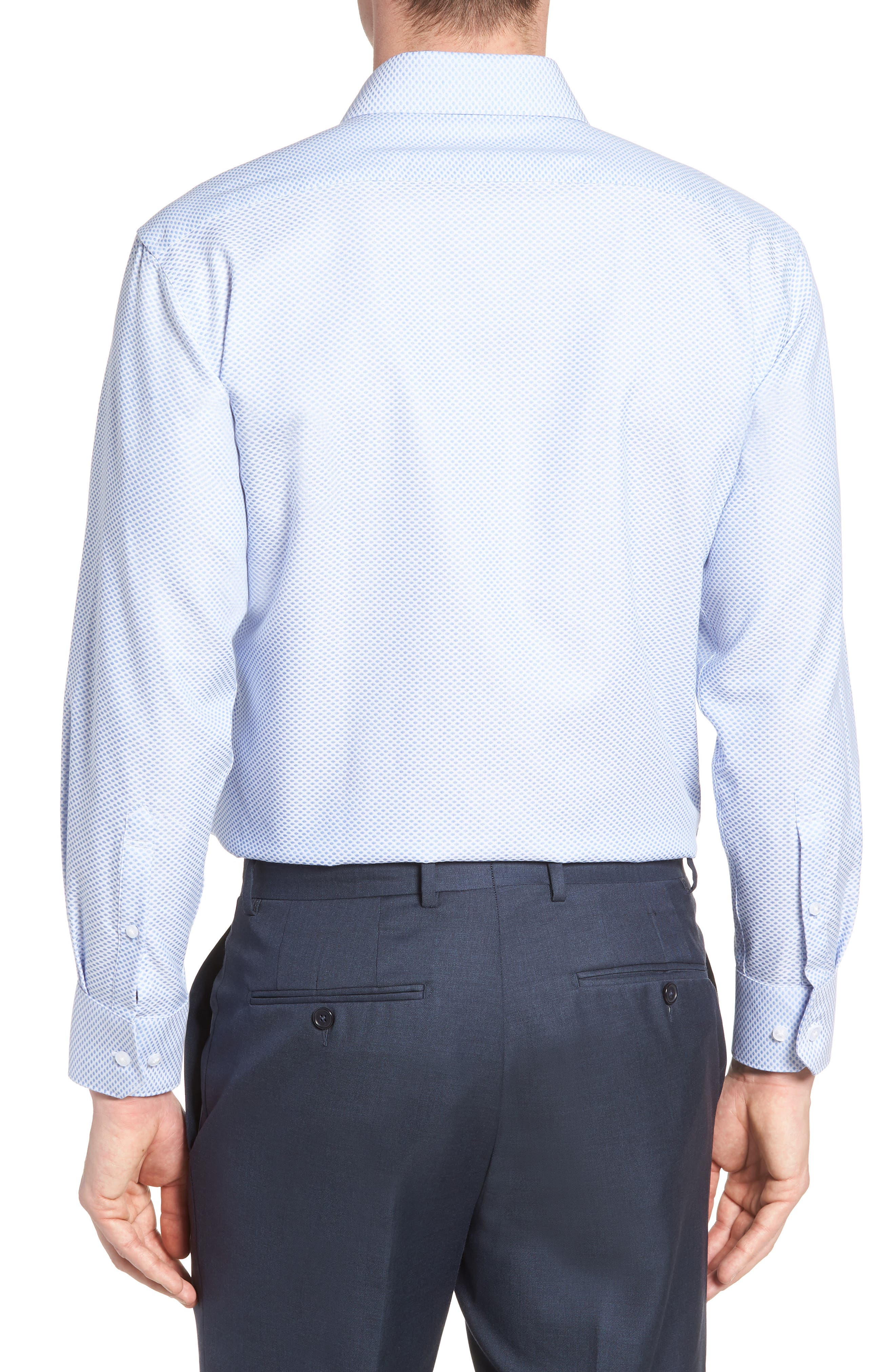 Bigbenn Trim Fit Dot Dress Shirt,                             Alternate thumbnail 3, color,                             BLUE