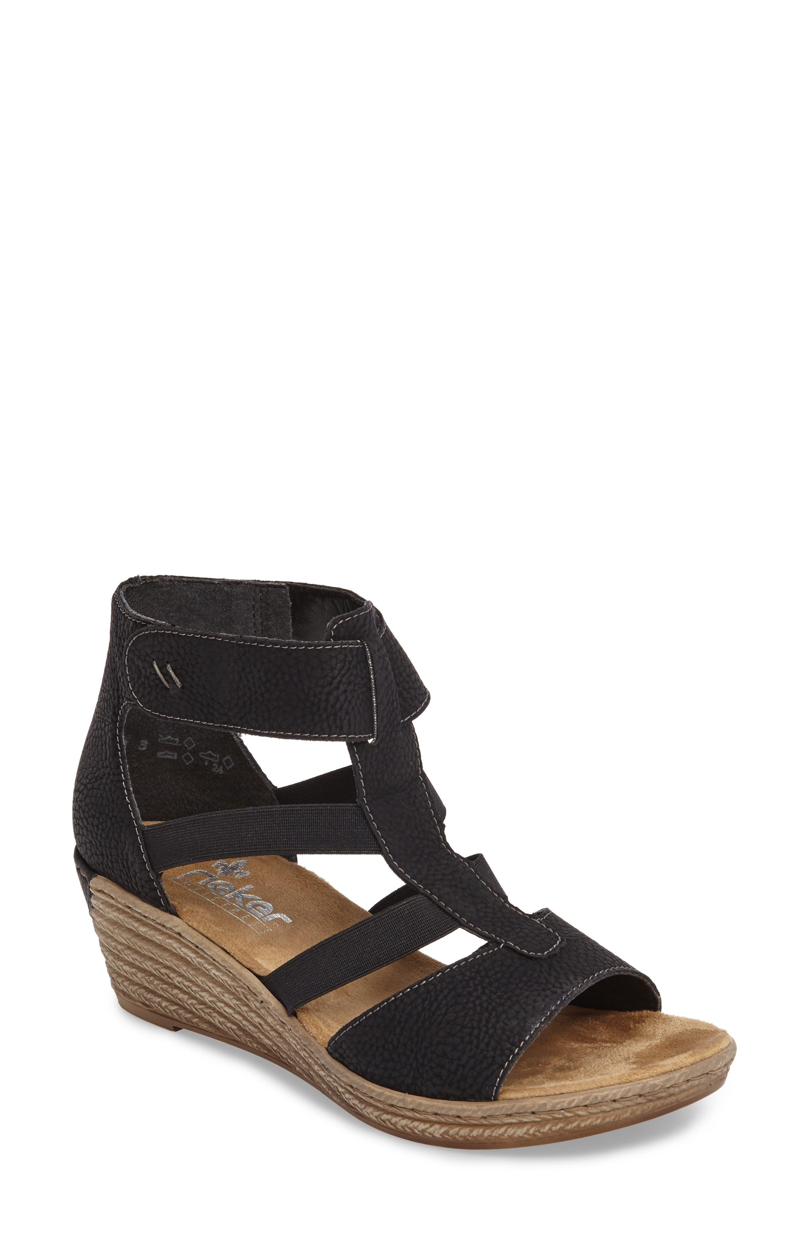 RIEKER ANTISTRESS Fanni 39 Wedge Sandal, Main, color, 001