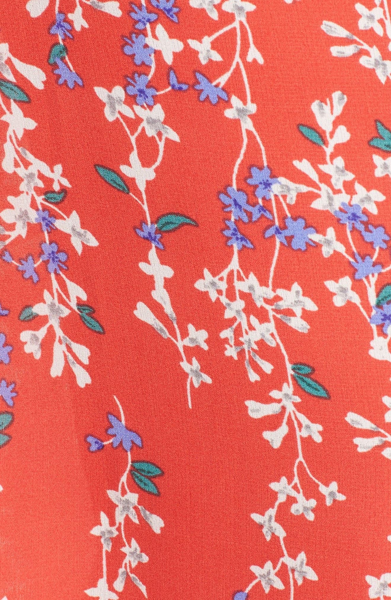 Floral Open Back Jumpsuit,                             Alternate thumbnail 5, color,                             RED MULTI