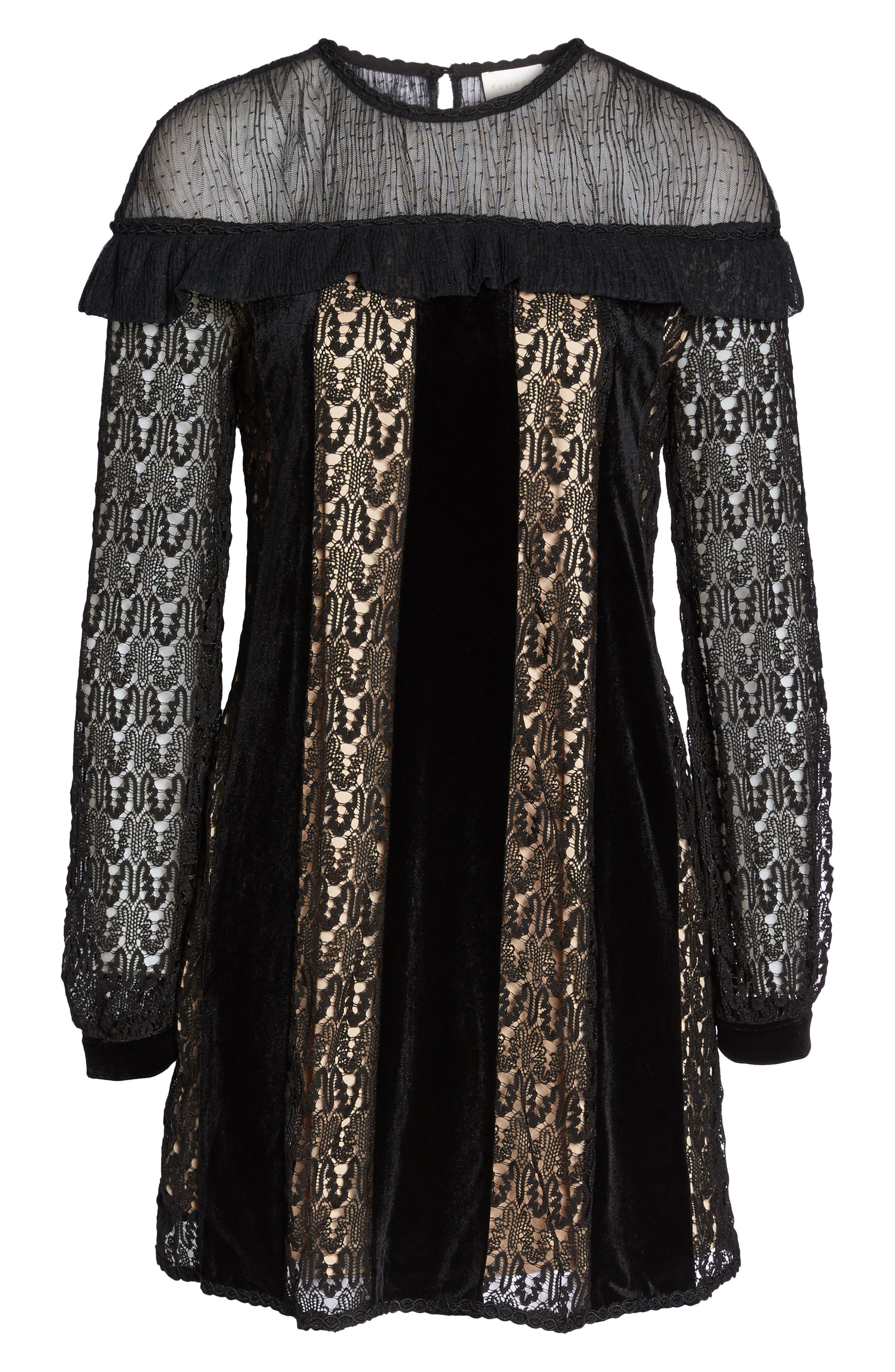 Charli Lace & Velvet Shift Dress,                             Alternate thumbnail 6, color,                             001