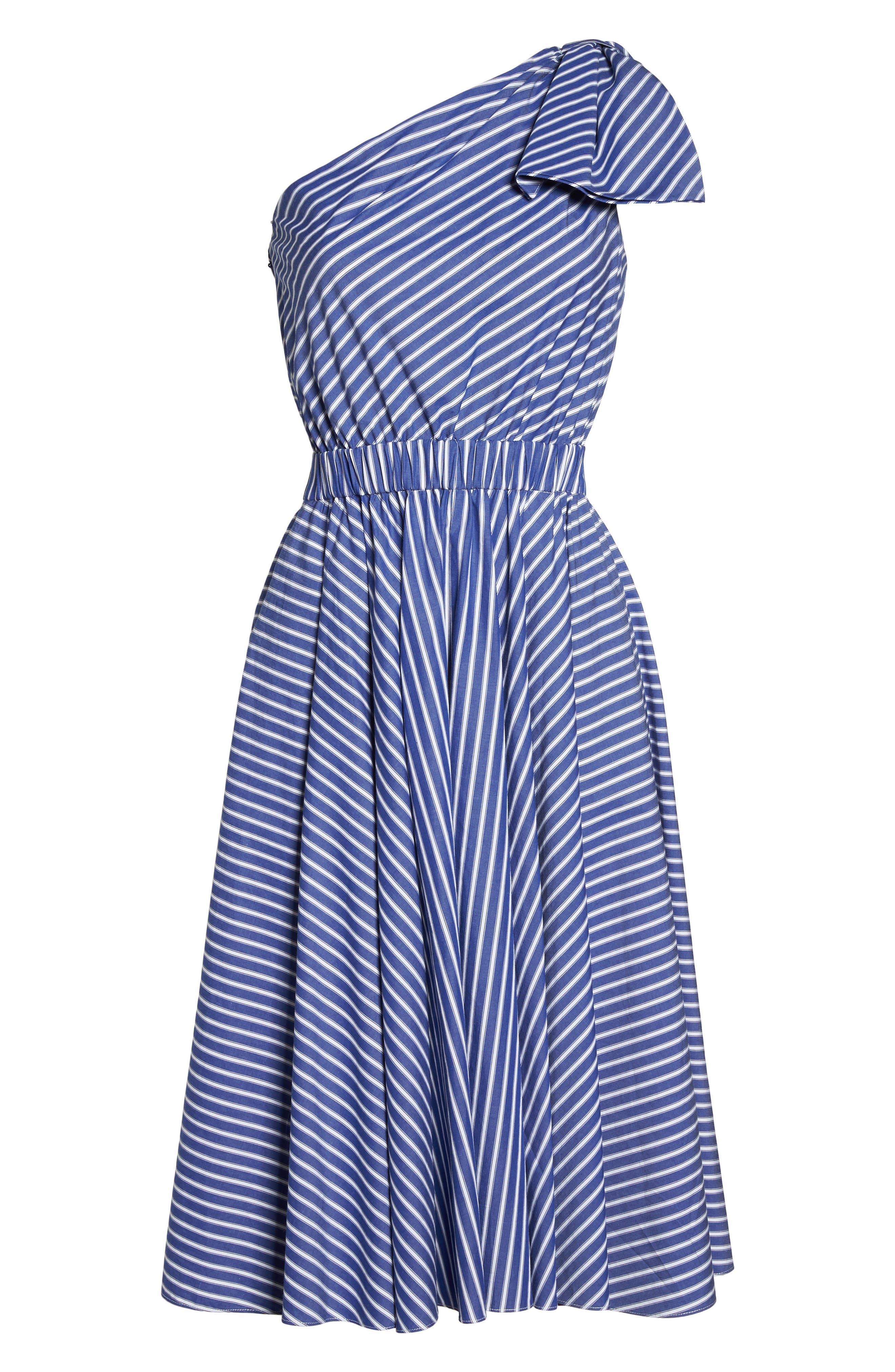One-Shoulder Fit & Flare Dress,                             Alternate thumbnail 6, color,