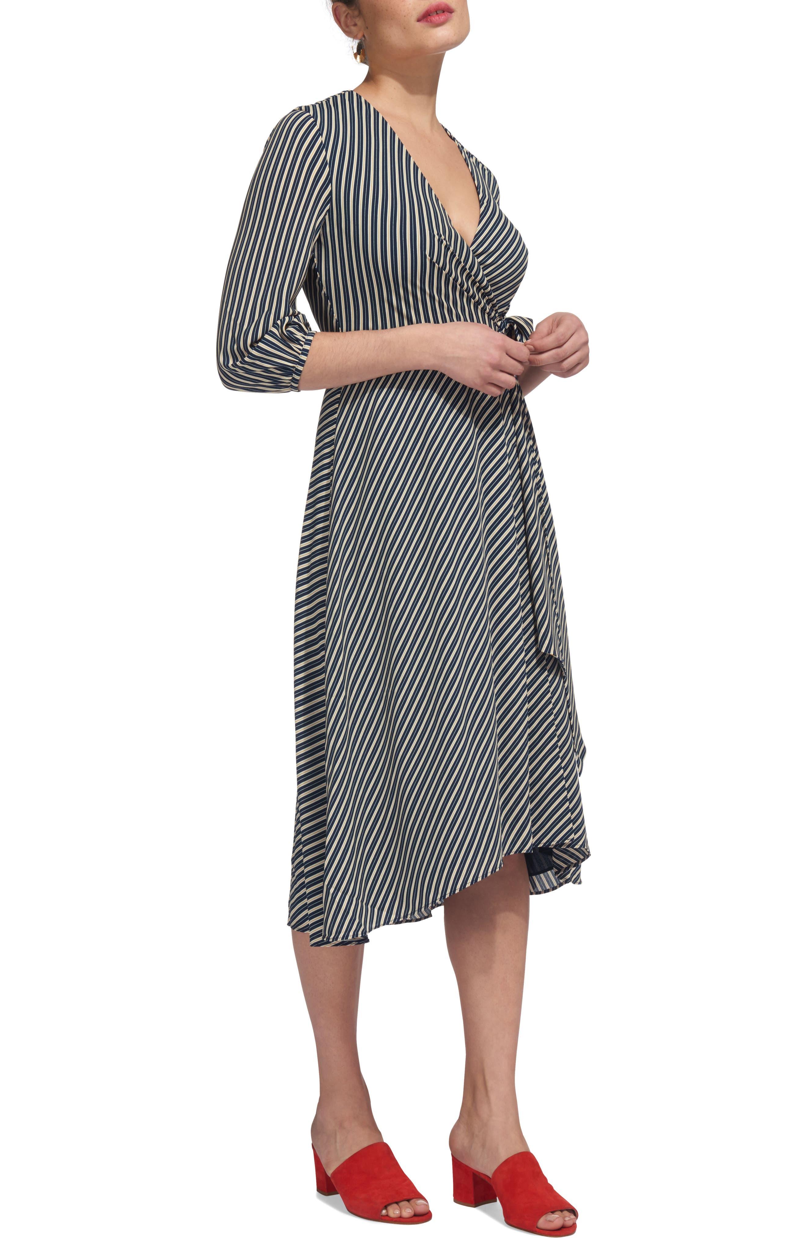 Callie Stripe Wrap Dress,                             Main thumbnail 1, color,                             400