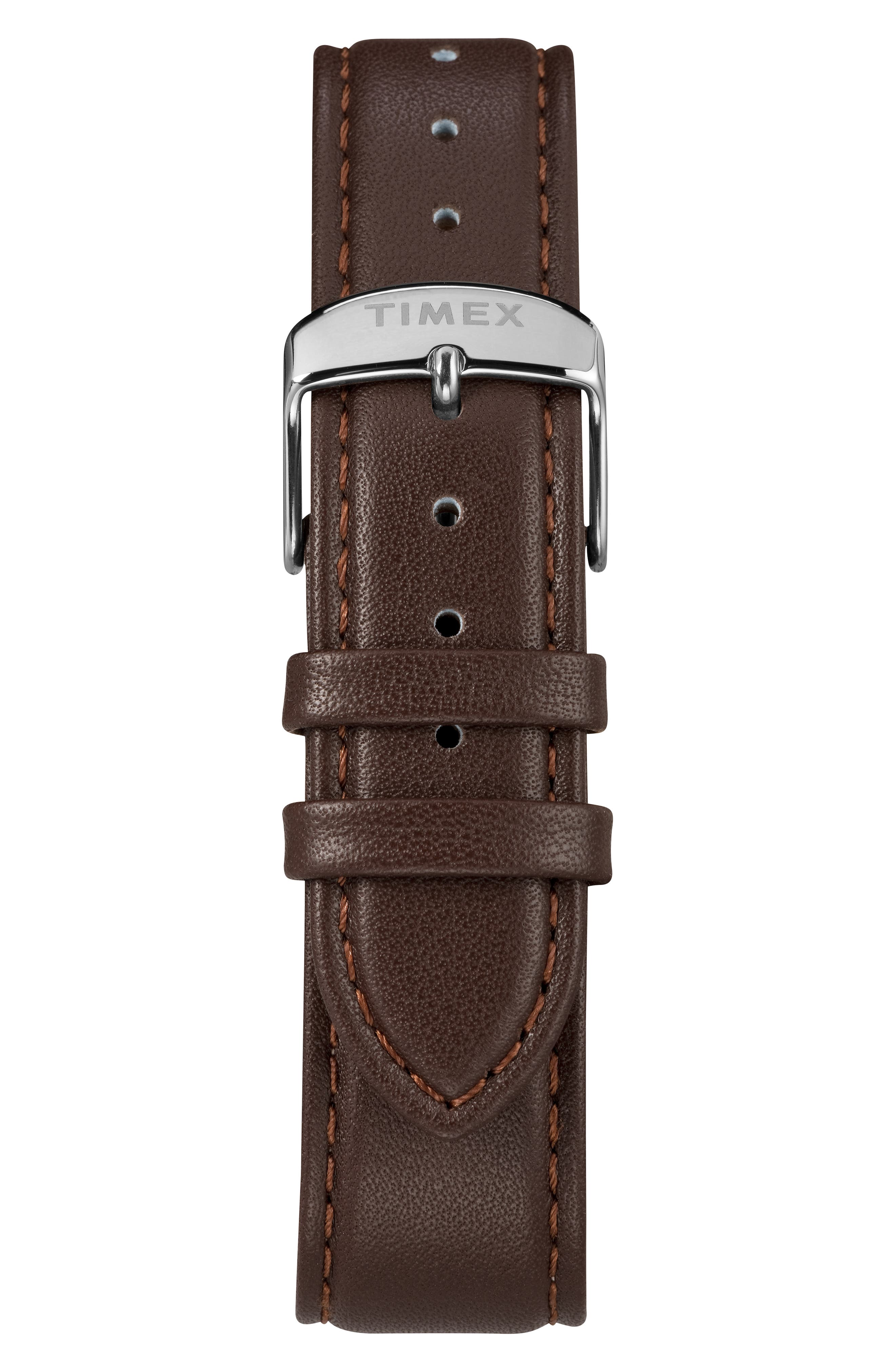 TIMEX<SUP>®</SUP>,                             Fairfiled Leather Strap Watch, 41mm,                             Alternate thumbnail 2, color,                             BROWN/ BLACK/ SILVER