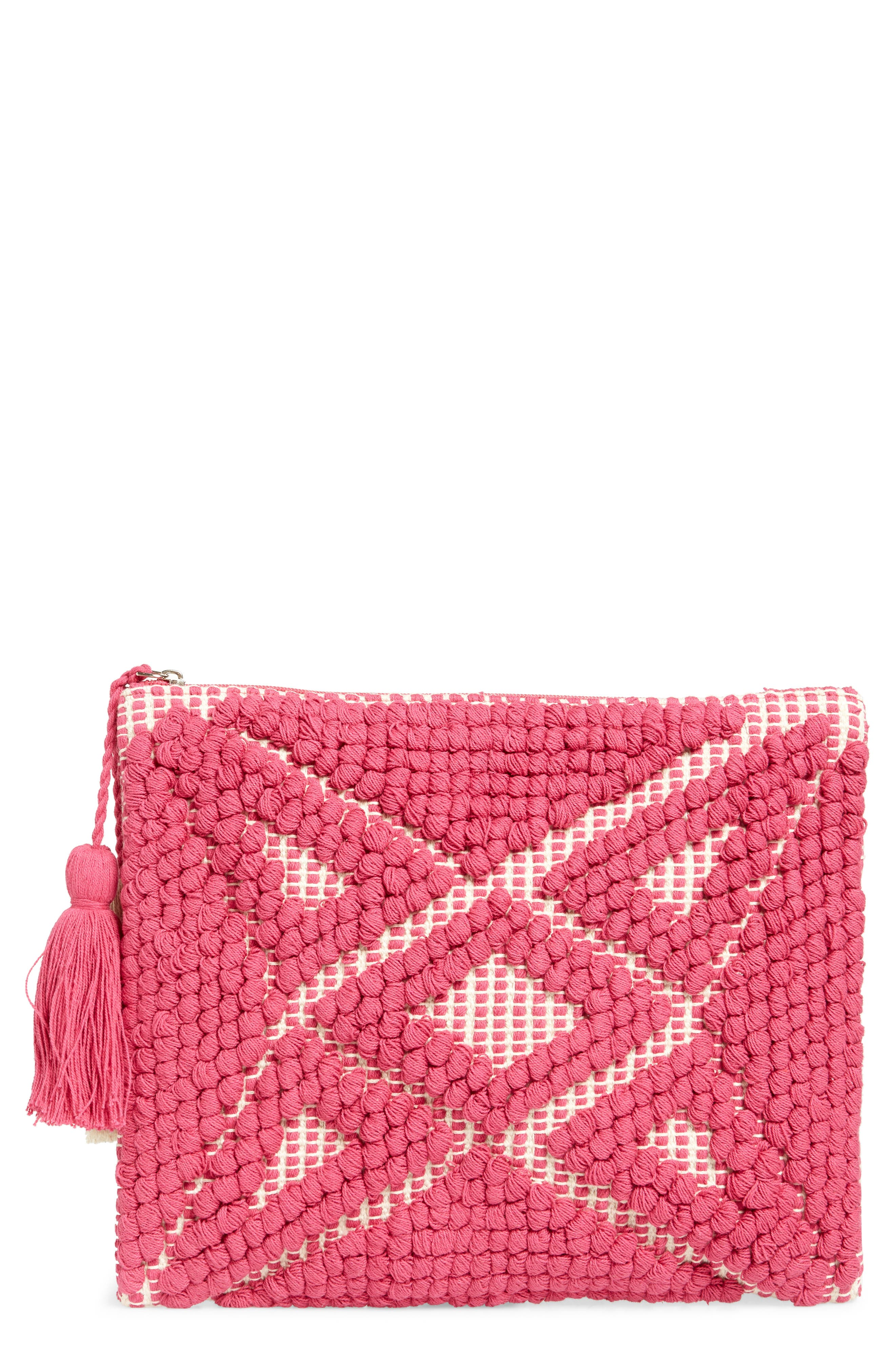 Palisades Tasseled Woven Clutch,                             Main thumbnail 1, color,                             655
