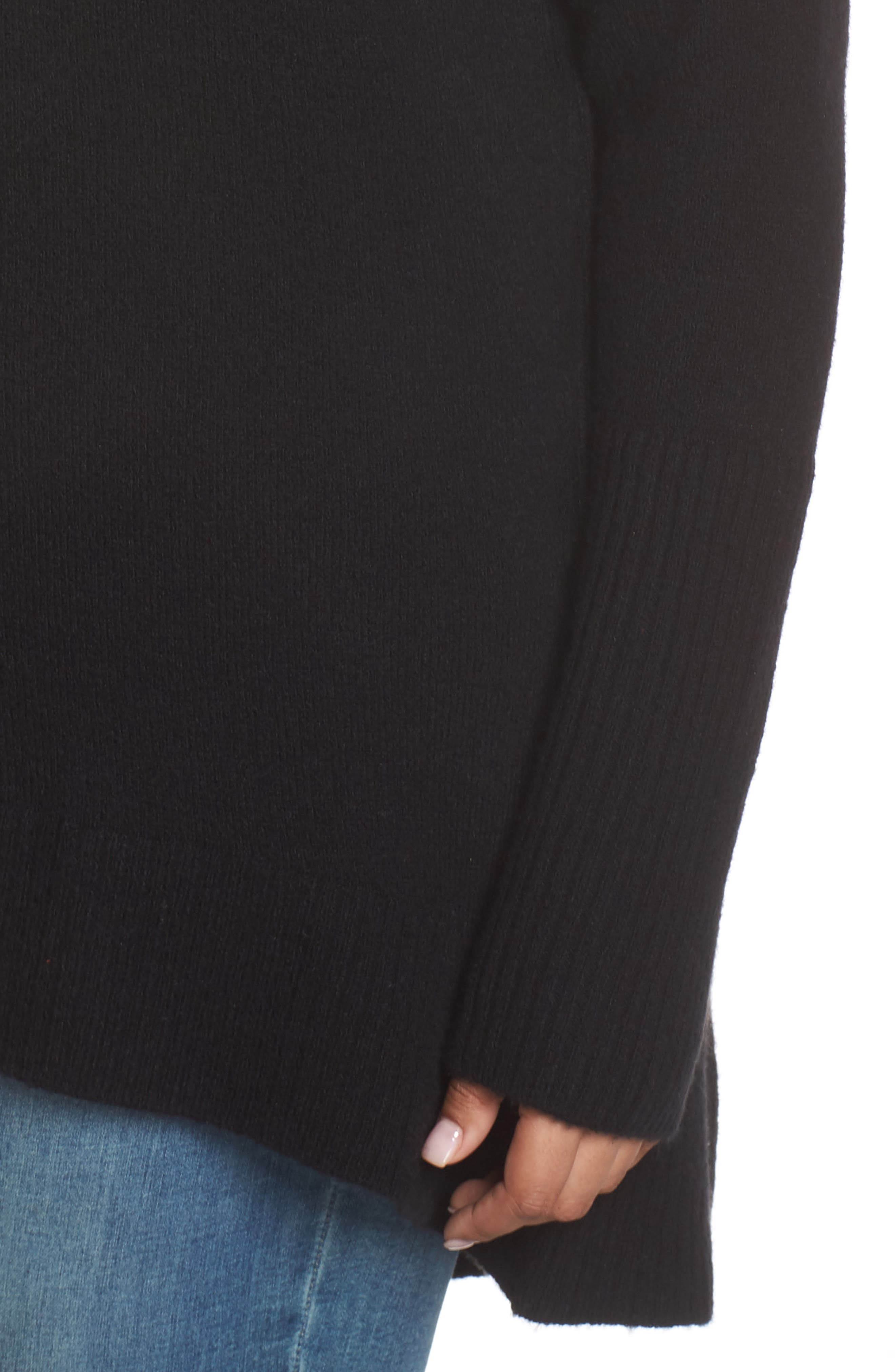 High Low Oversize Wool Blend Sweater,                             Alternate thumbnail 10, color,                             BLACK
