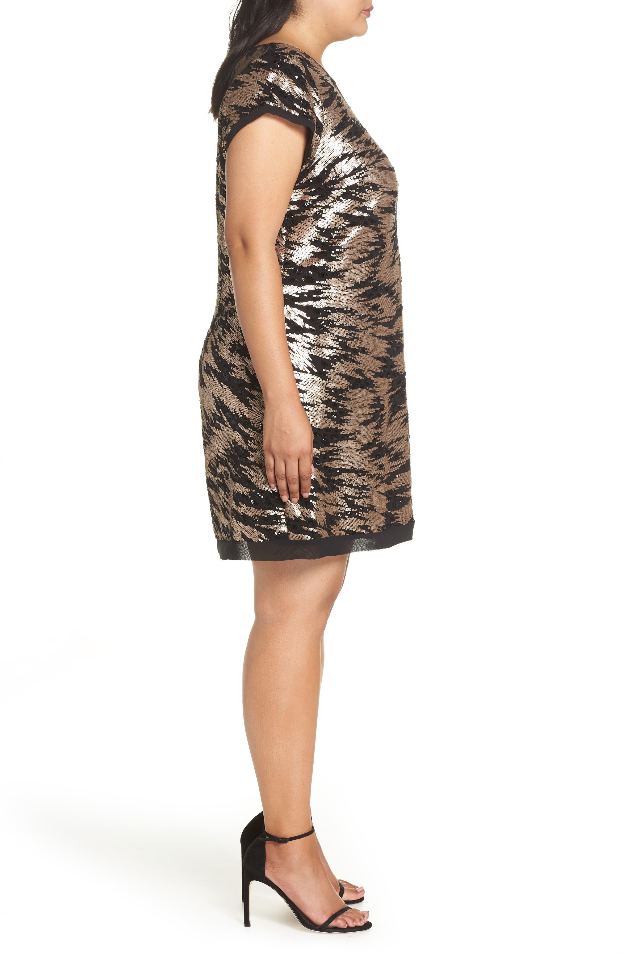 ELIZA J,                             Sequin Sheath Dress,                             Alternate thumbnail 3, color,                             002