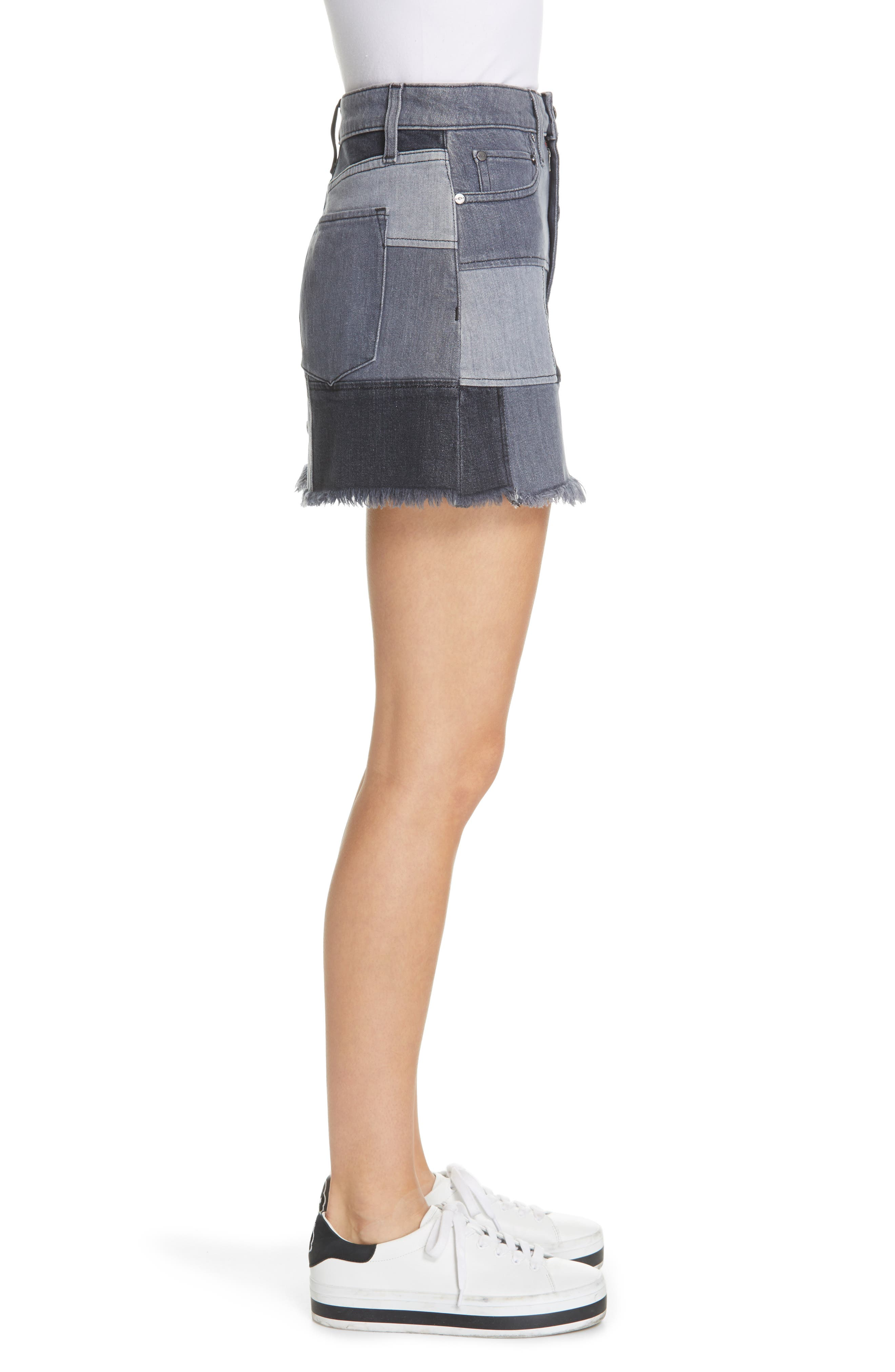 ALICE + OLIVIA JEANS,                             Amazing Patchwork Denim Miniskirt,                             Alternate thumbnail 3, color,                             NIGHT SKY