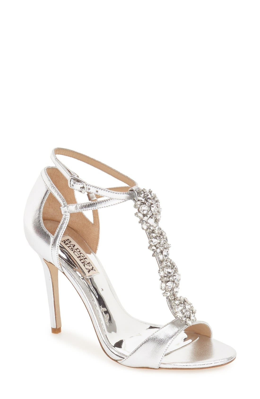 BADGLEY MISCHKA COLLECTION,                             Badgley Mischka 'Leigh' Embellished Evening Sandal,                             Main thumbnail 1, color,                             046