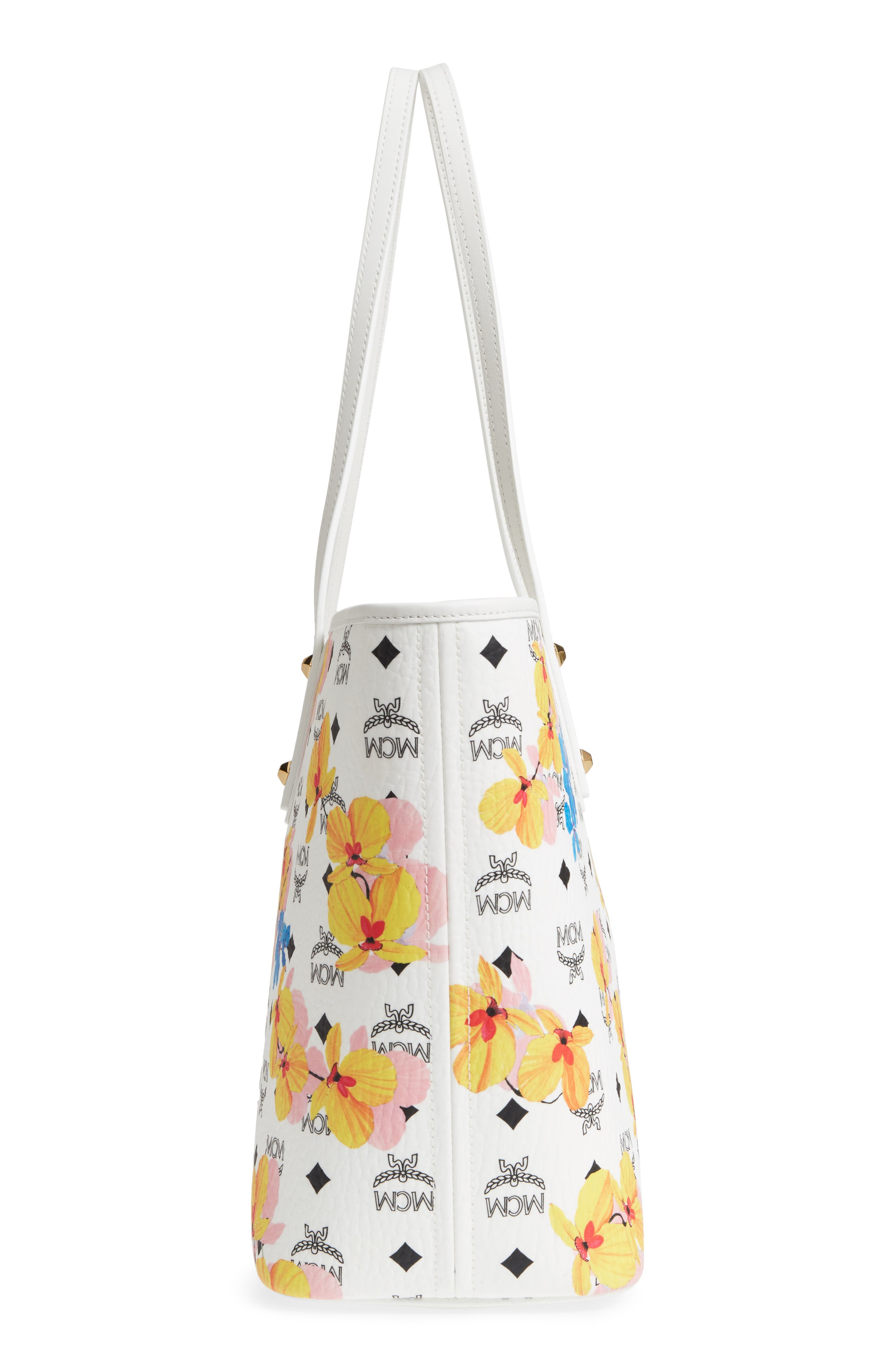 MCM,                             Essentials Floral Print Coated Canvas Shopper,                             Alternate thumbnail 5, color,                             100