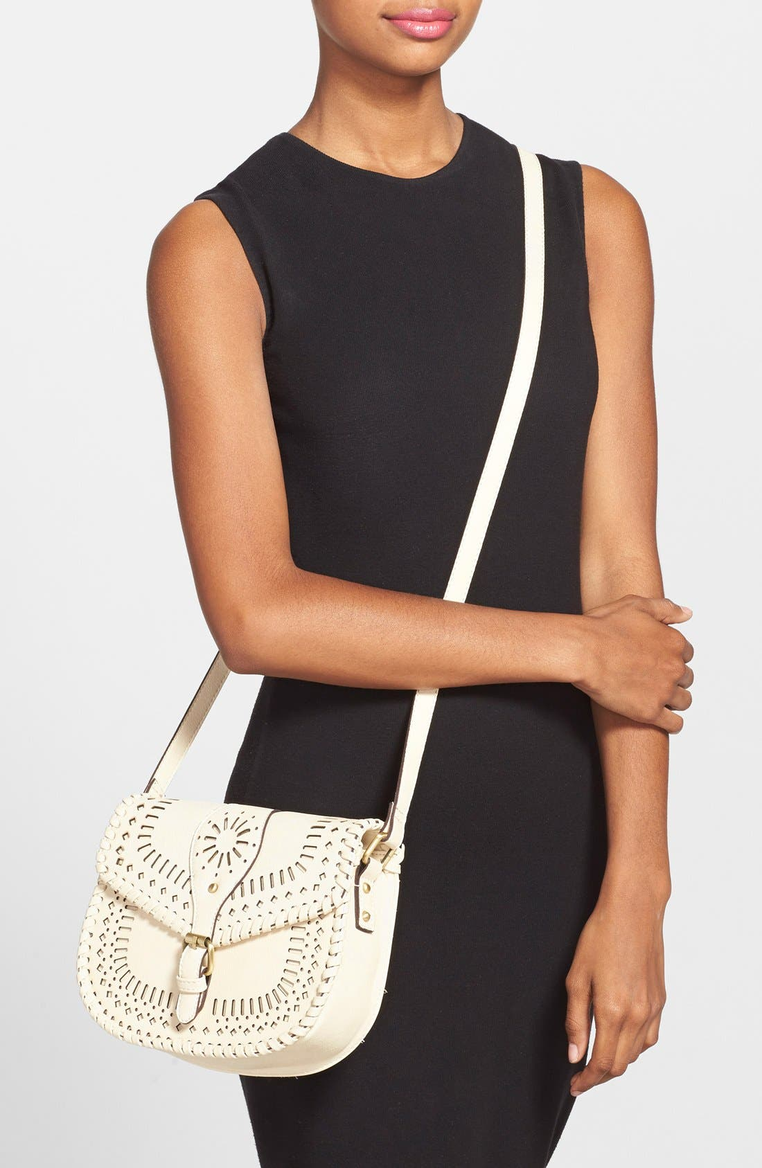 'Kianna' Perforated Faux Leather Crossbody Bag,                             Alternate thumbnail 6, color,                             IVORY