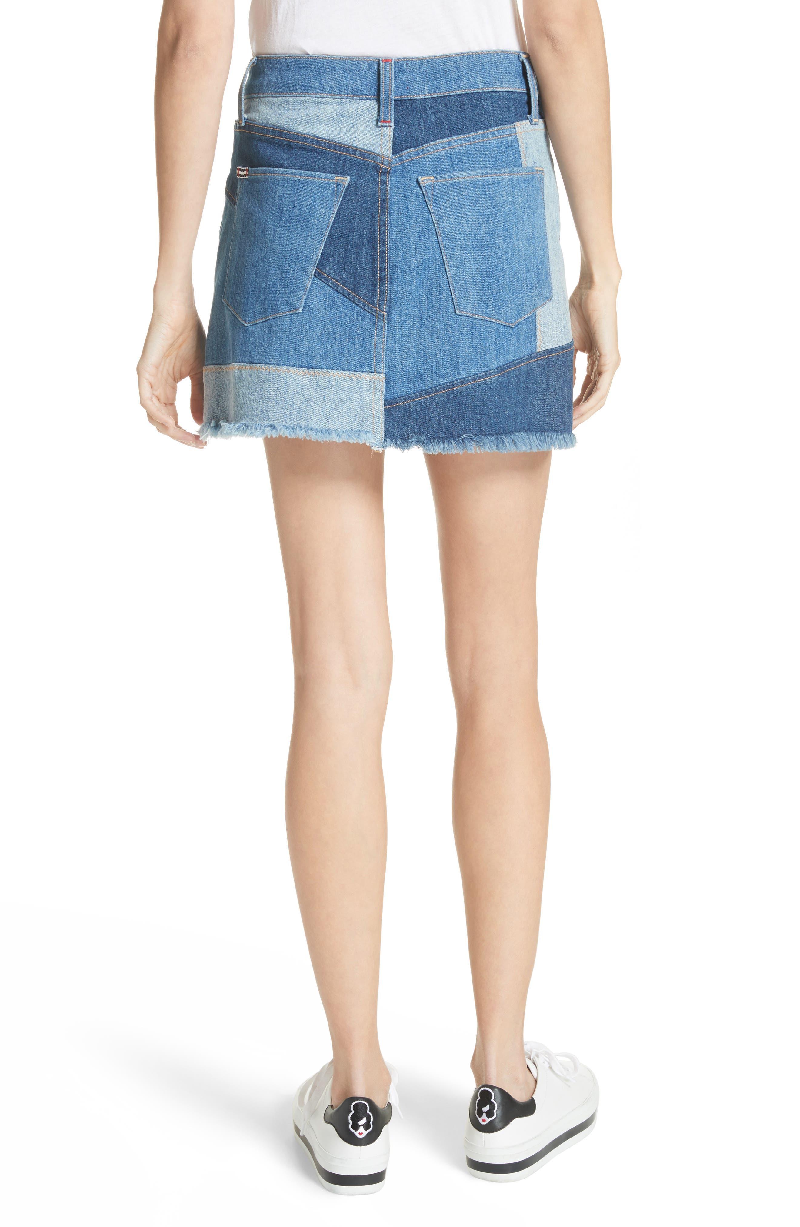 AO.LA Patchwork Denim Miniskirt,                             Alternate thumbnail 2, color,                             485