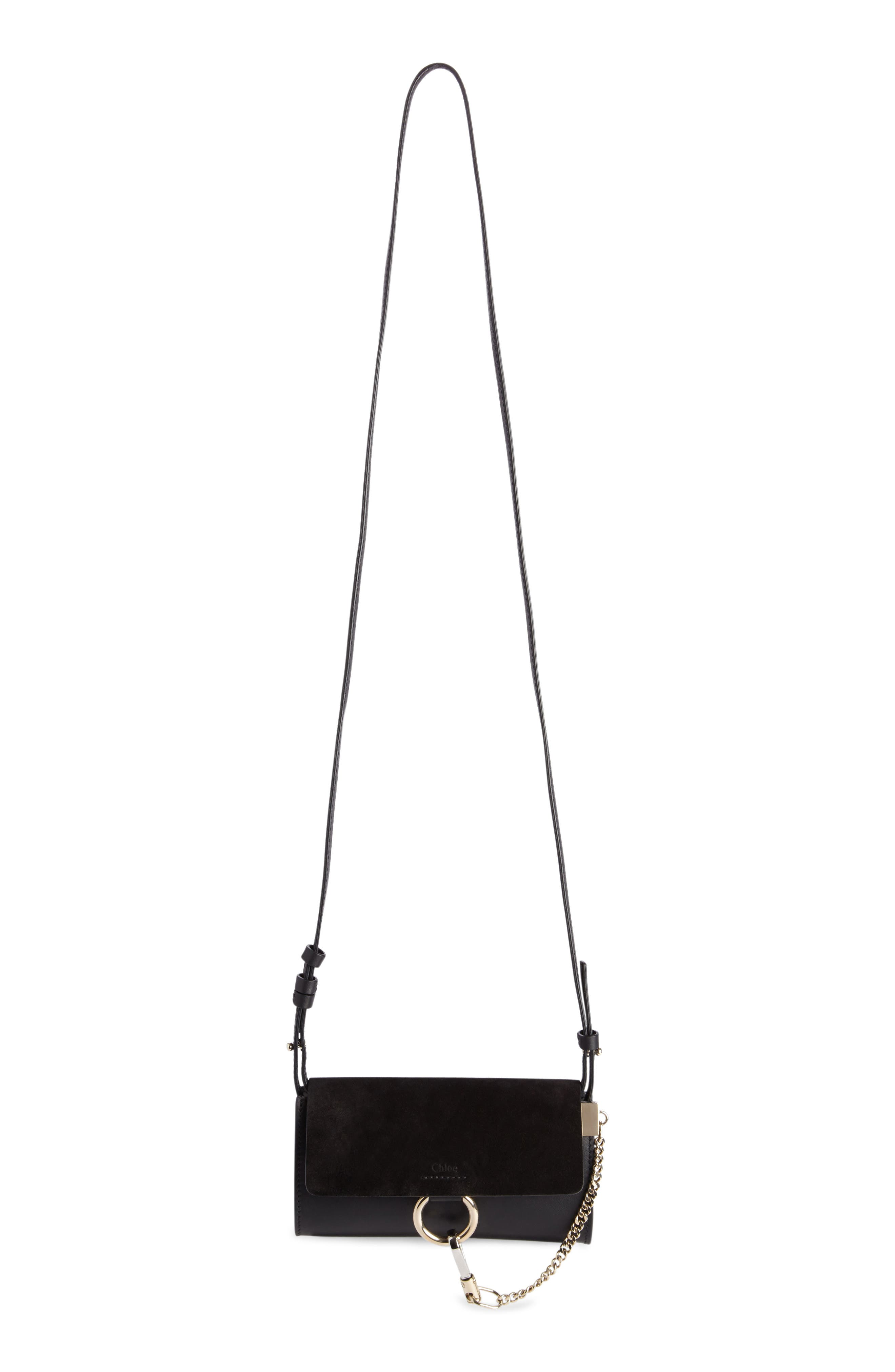 Mini Faye Suede & Leather Wallet on a Chain,                             Alternate thumbnail 7, color,                             BLACK