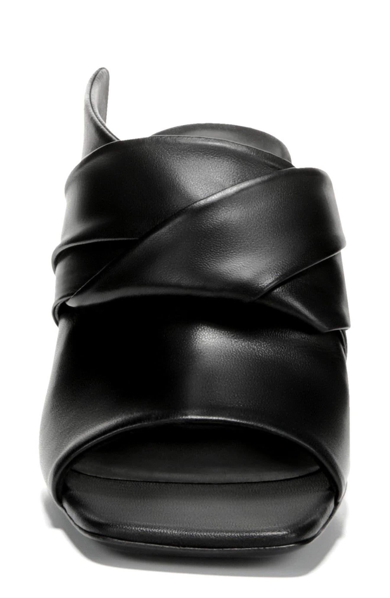 Elly Peep Toe Mule,                             Alternate thumbnail 4, color,                             BLACK LEATHER