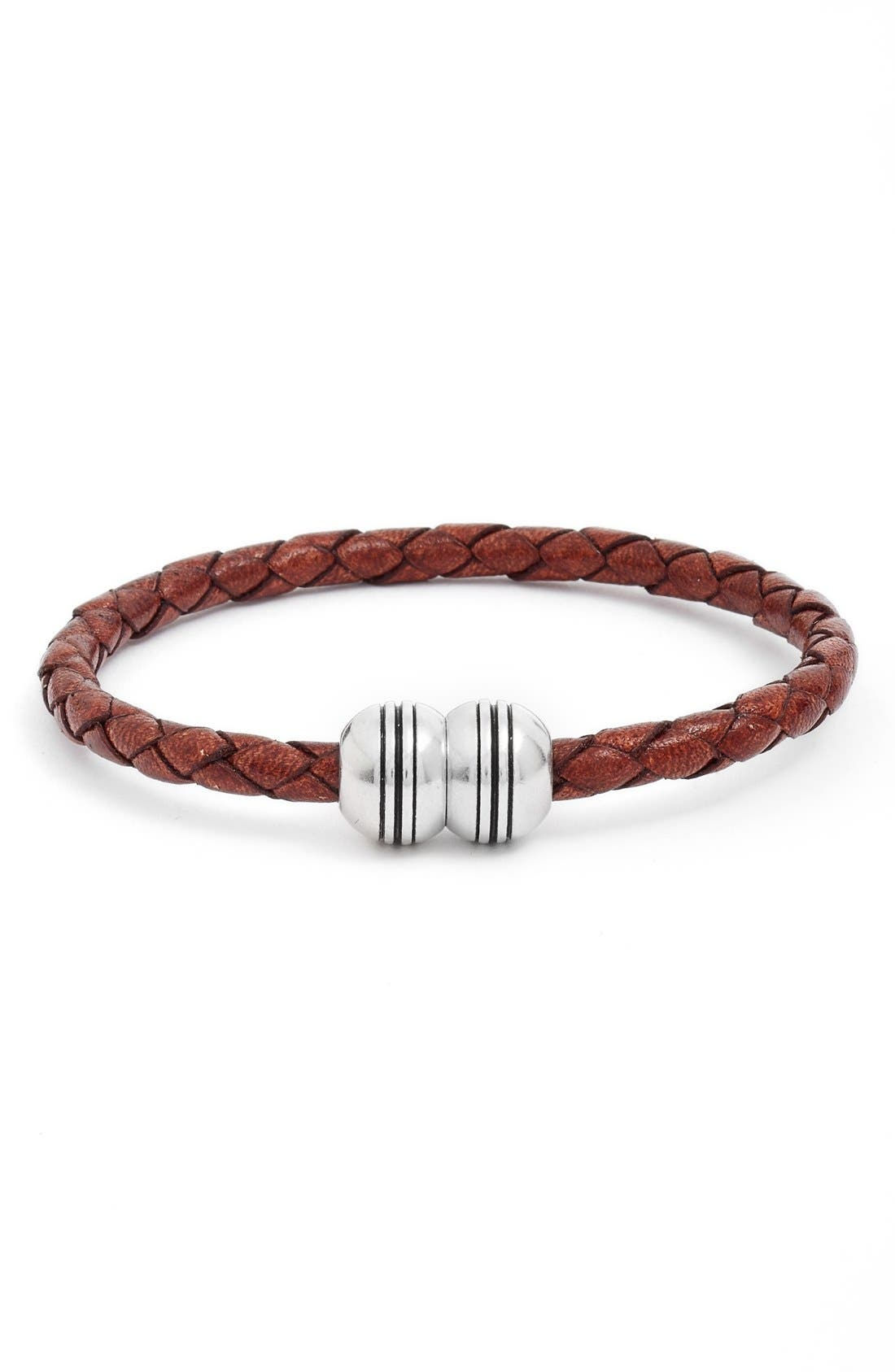 Braided Leather Bracelet,                         Main,                         color, 210