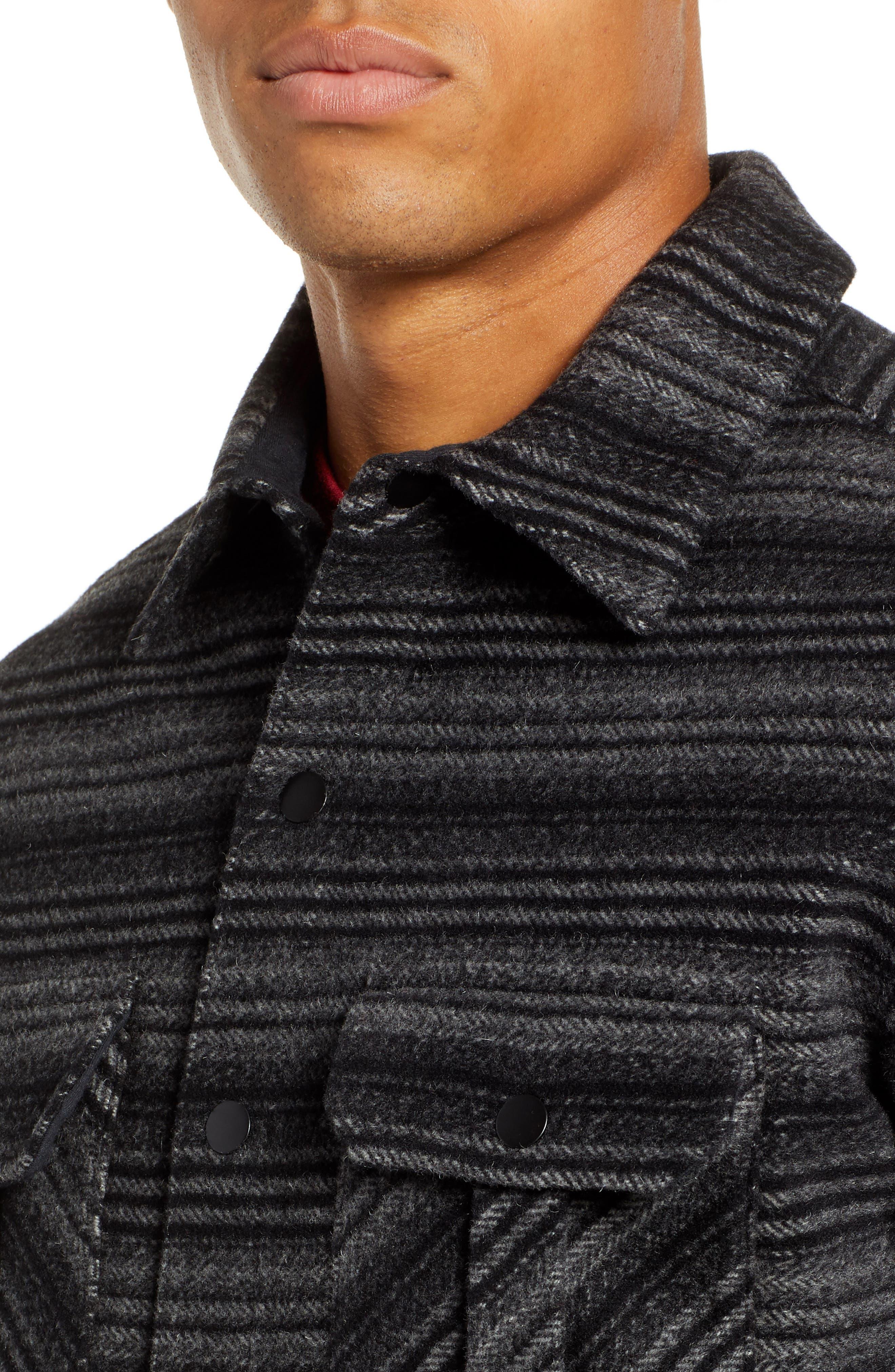 Anchor Line Flannel Shirt Jacket,                             Alternate thumbnail 2, color,                             MEDIUM GREY/ BLACK