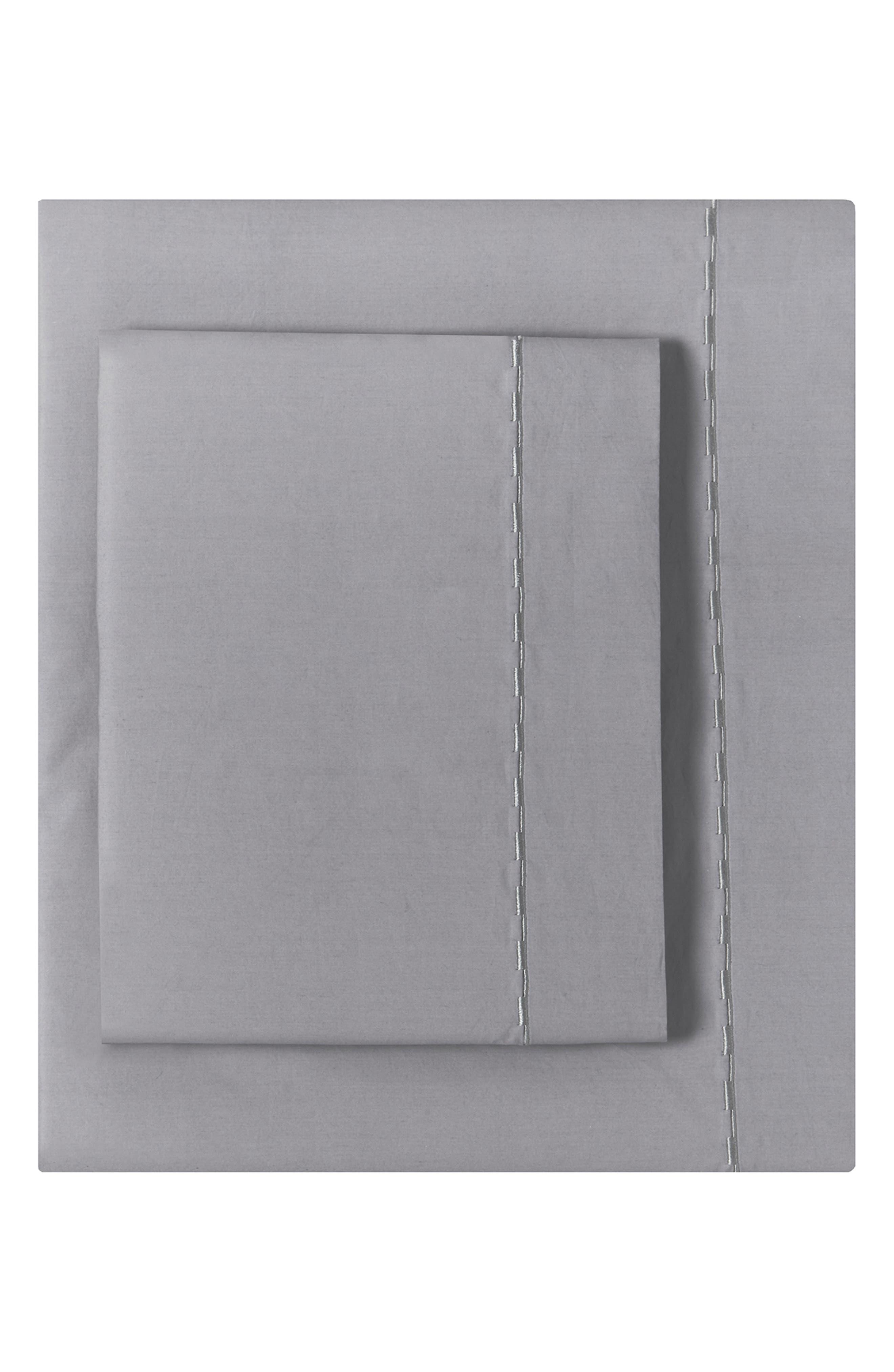 Cotton Percale Sheet Set, Main, color, GREY-BLUE