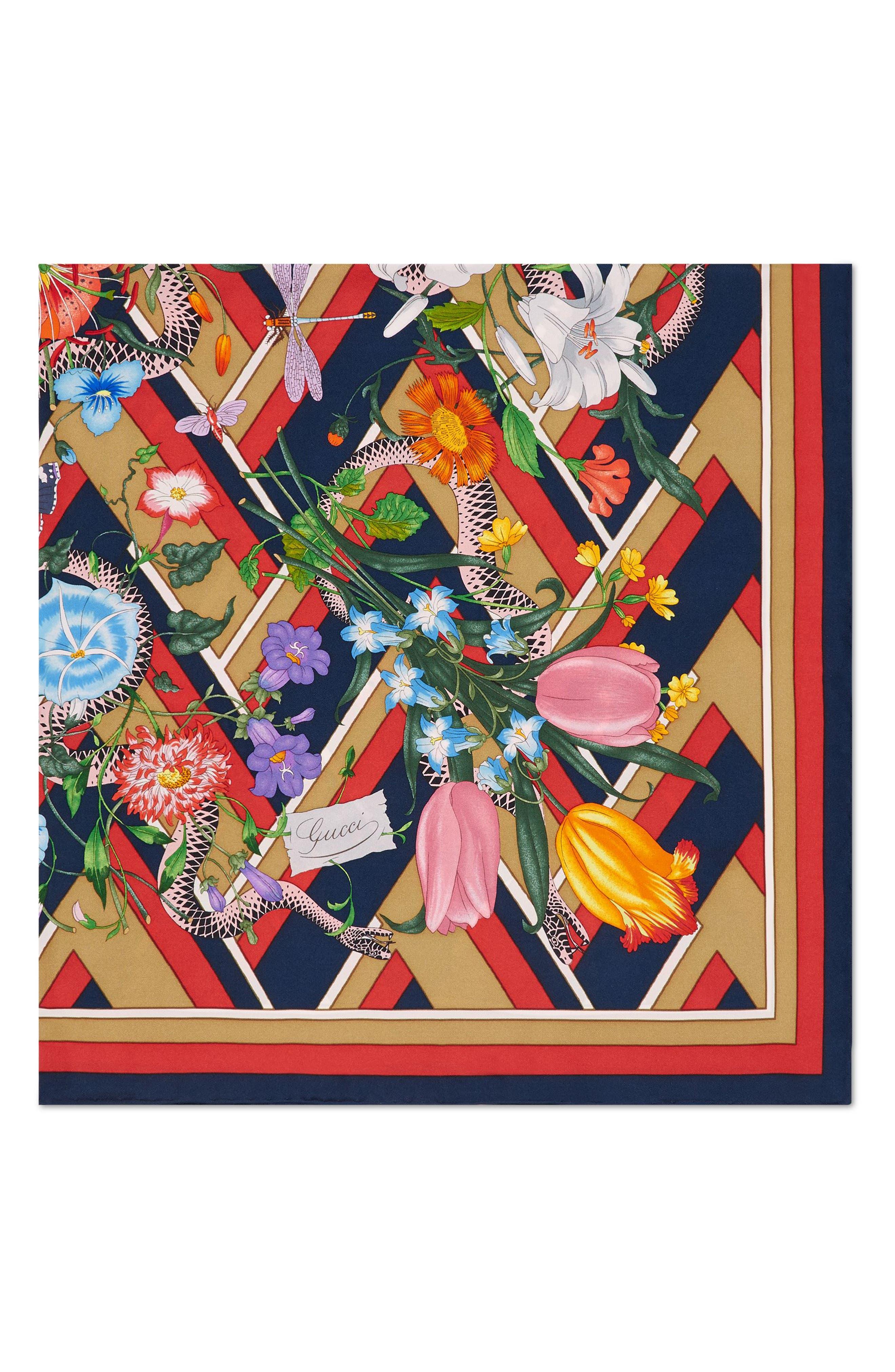 Flora Chevron Snake Foulard Silk Square Scarf,                             Alternate thumbnail 2, color,                             142