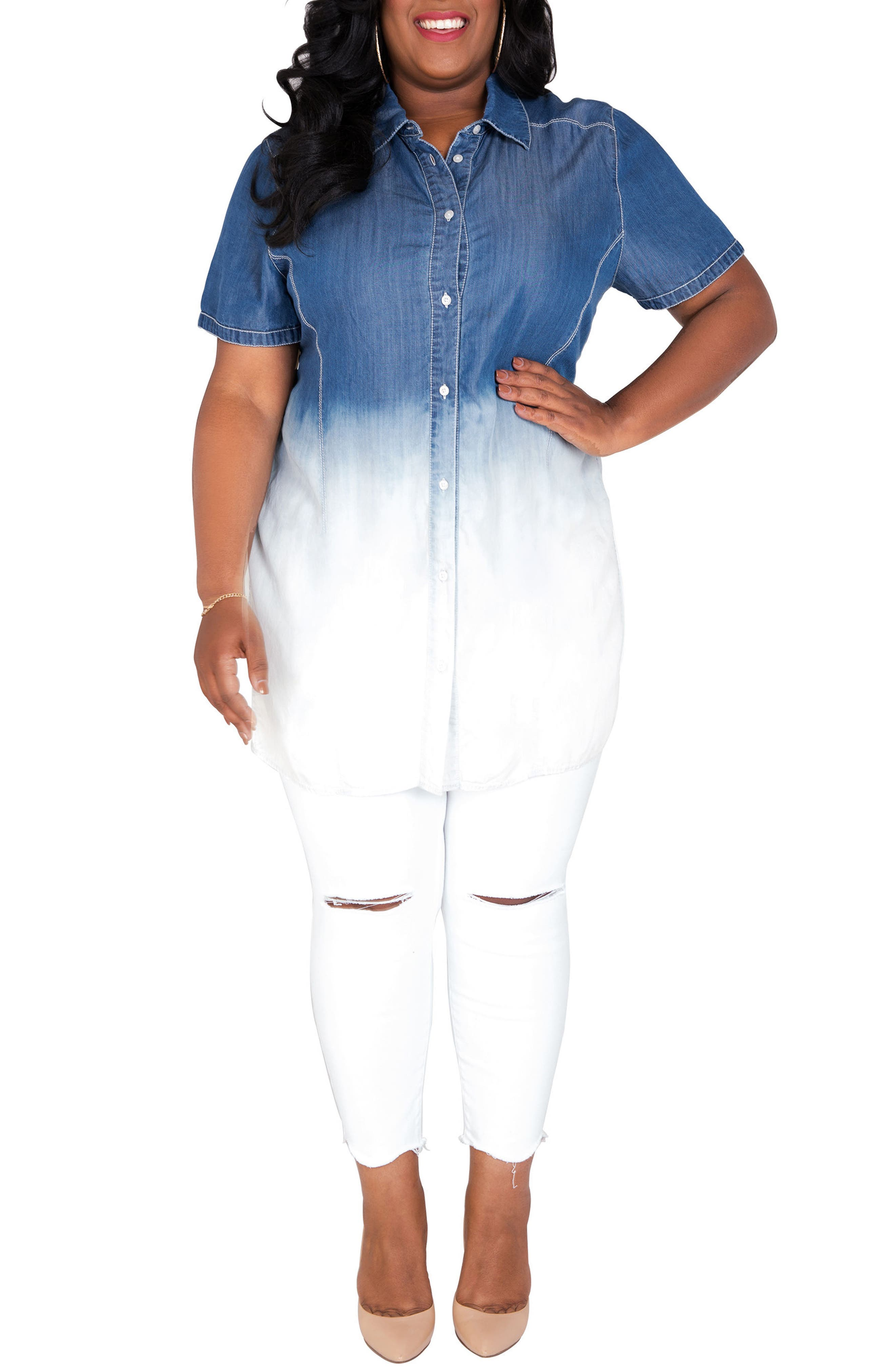 POETIC JUSTICE,                             Regina Ombré Denim Tunic Shirt,                             Alternate thumbnail 3, color,                             BLUE