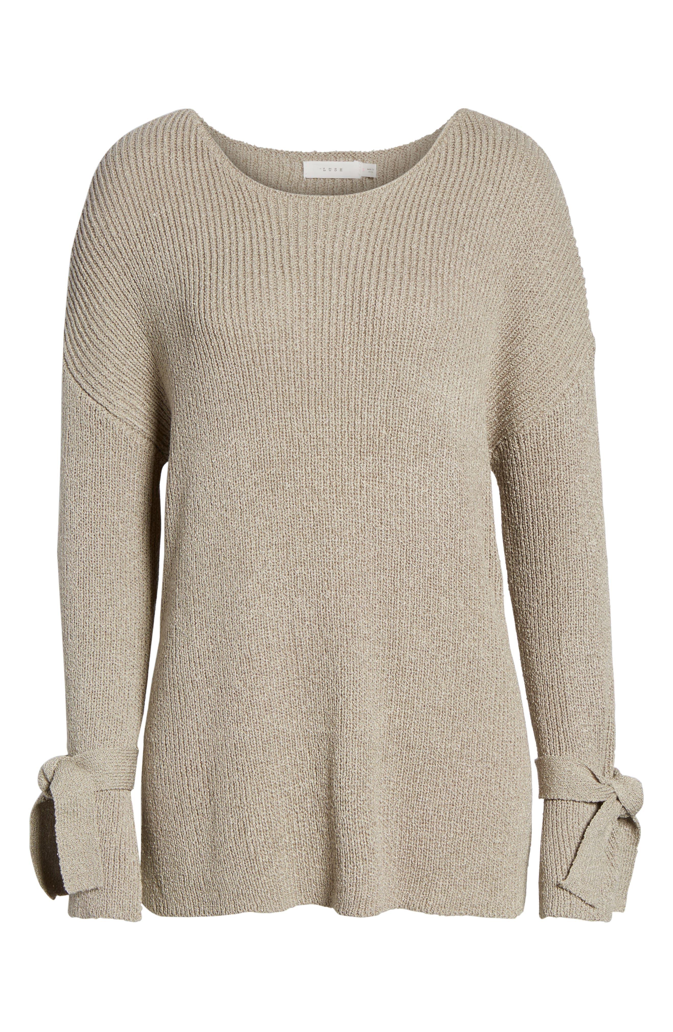 Tie Sleeve Sweater,                             Alternate thumbnail 6, color,                             268