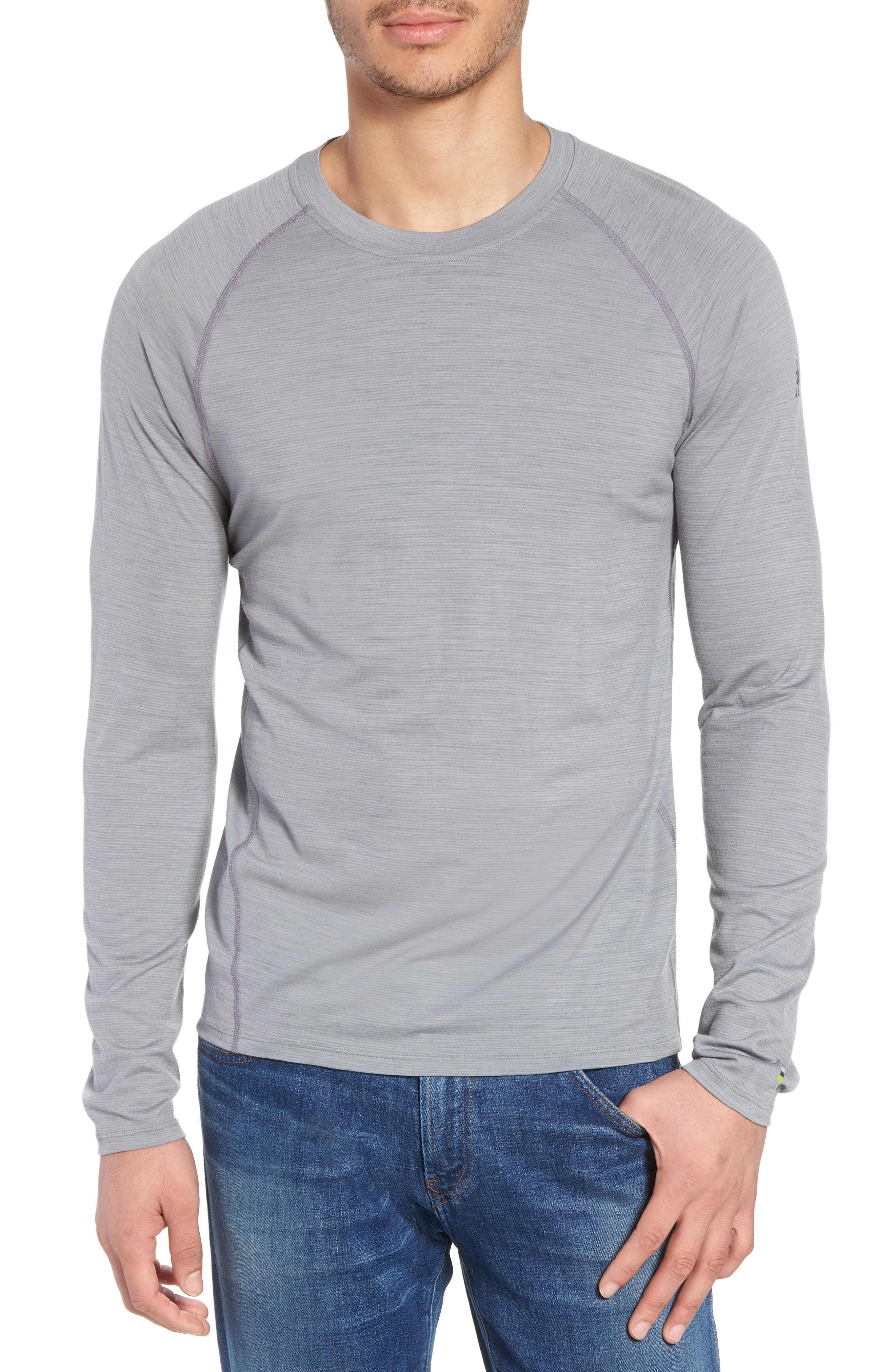 SMARTWOOL Merino 150 Wool Blend Long Sleeve T-Shirt, Main, color, LIGHT GREY