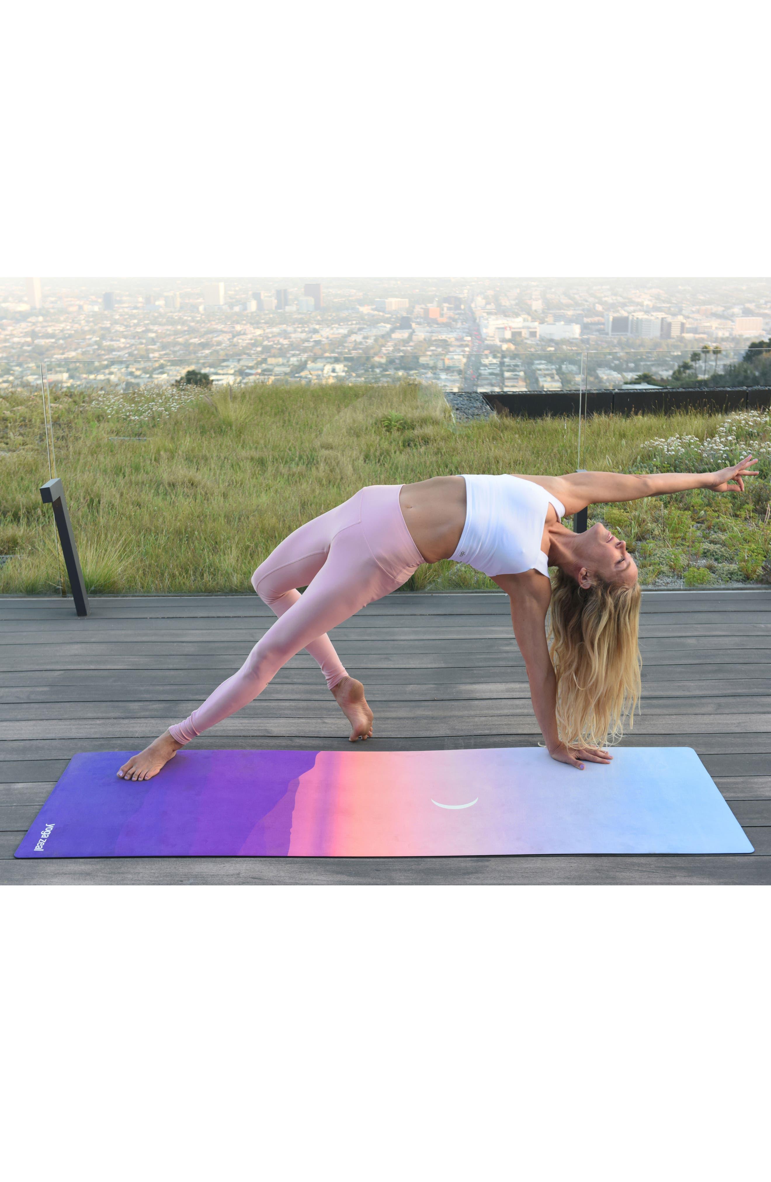 Moon Sunrise Print Yoga Mat,                             Alternate thumbnail 4, color,