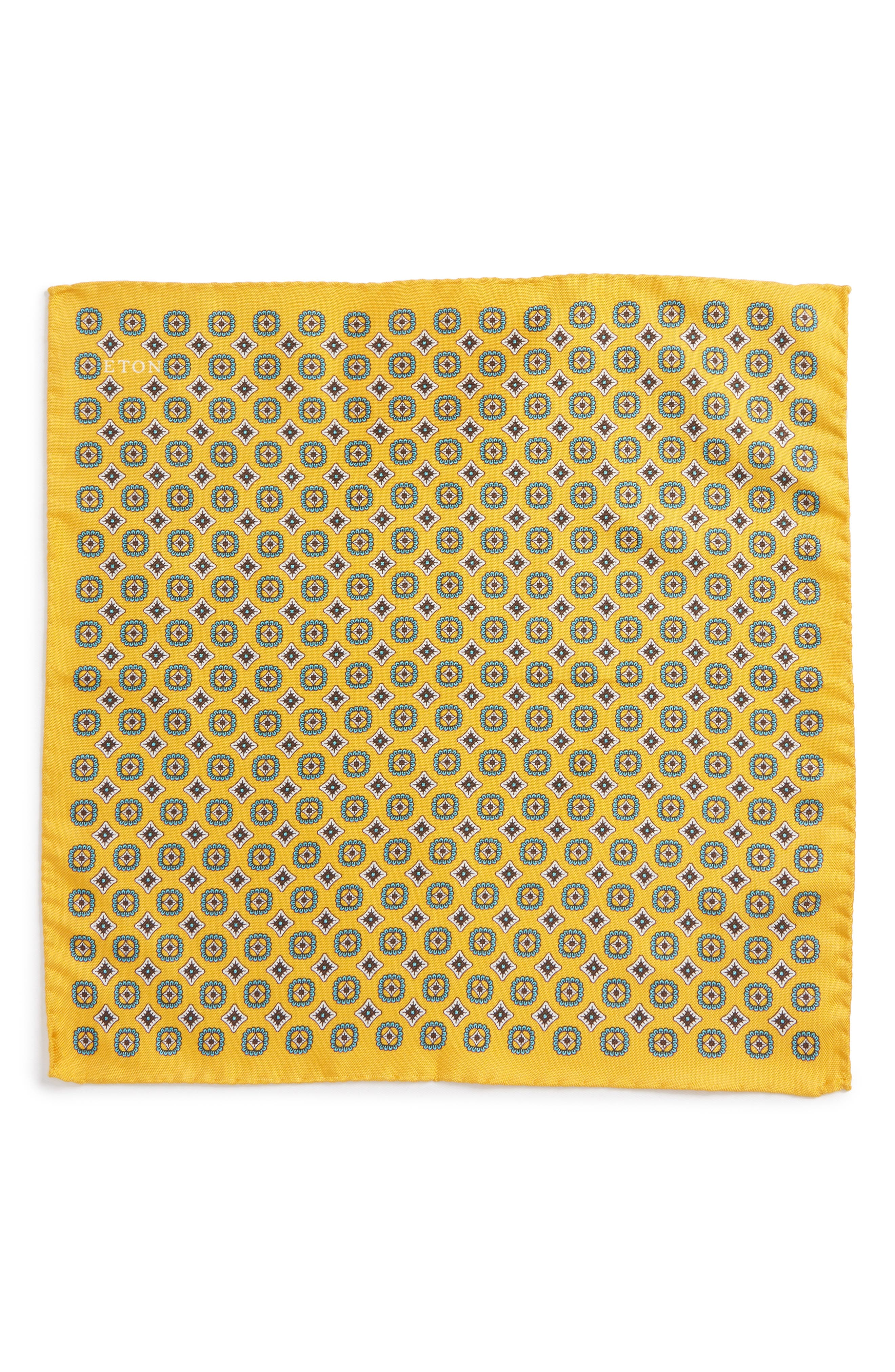 Medallion Silk Pocket Square,                             Alternate thumbnail 4, color,