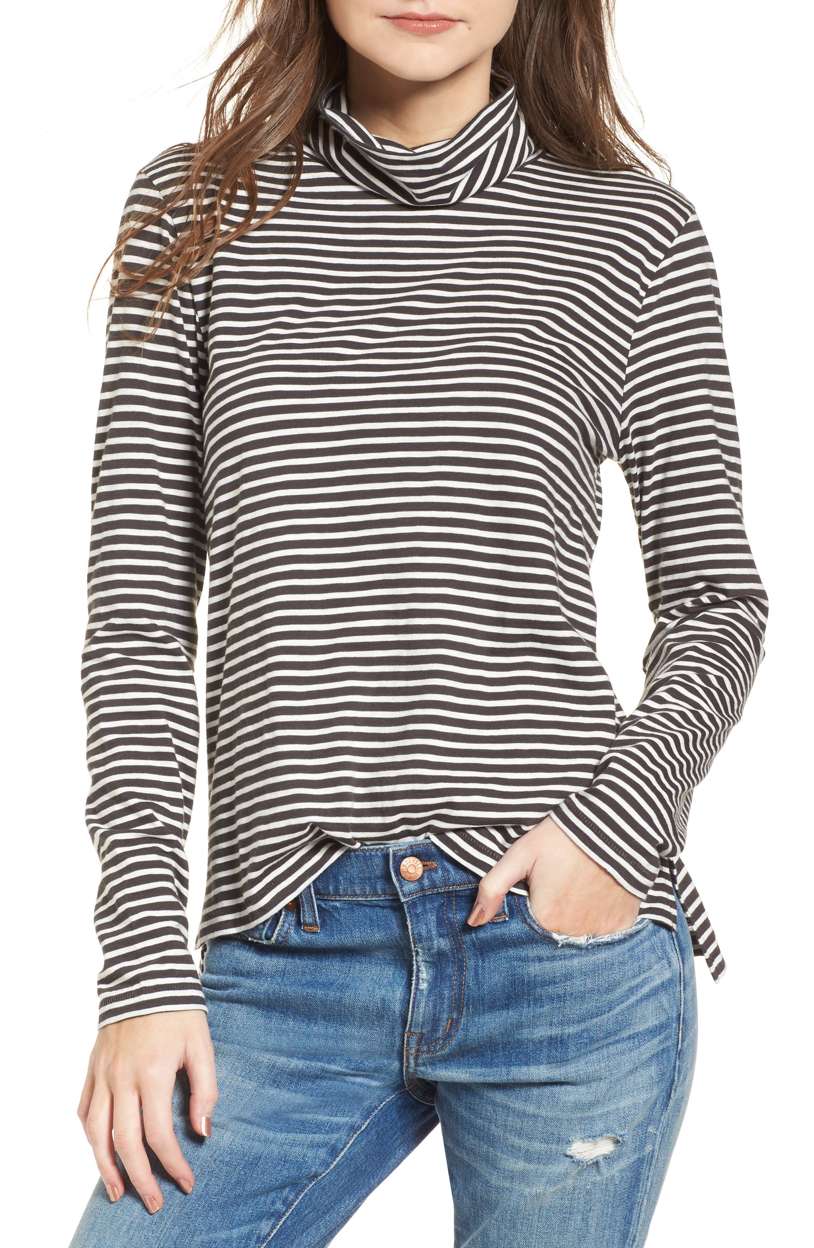 MADEWELL,                             Whisper Cotton Turtleneck Top,                             Main thumbnail 1, color,                             021