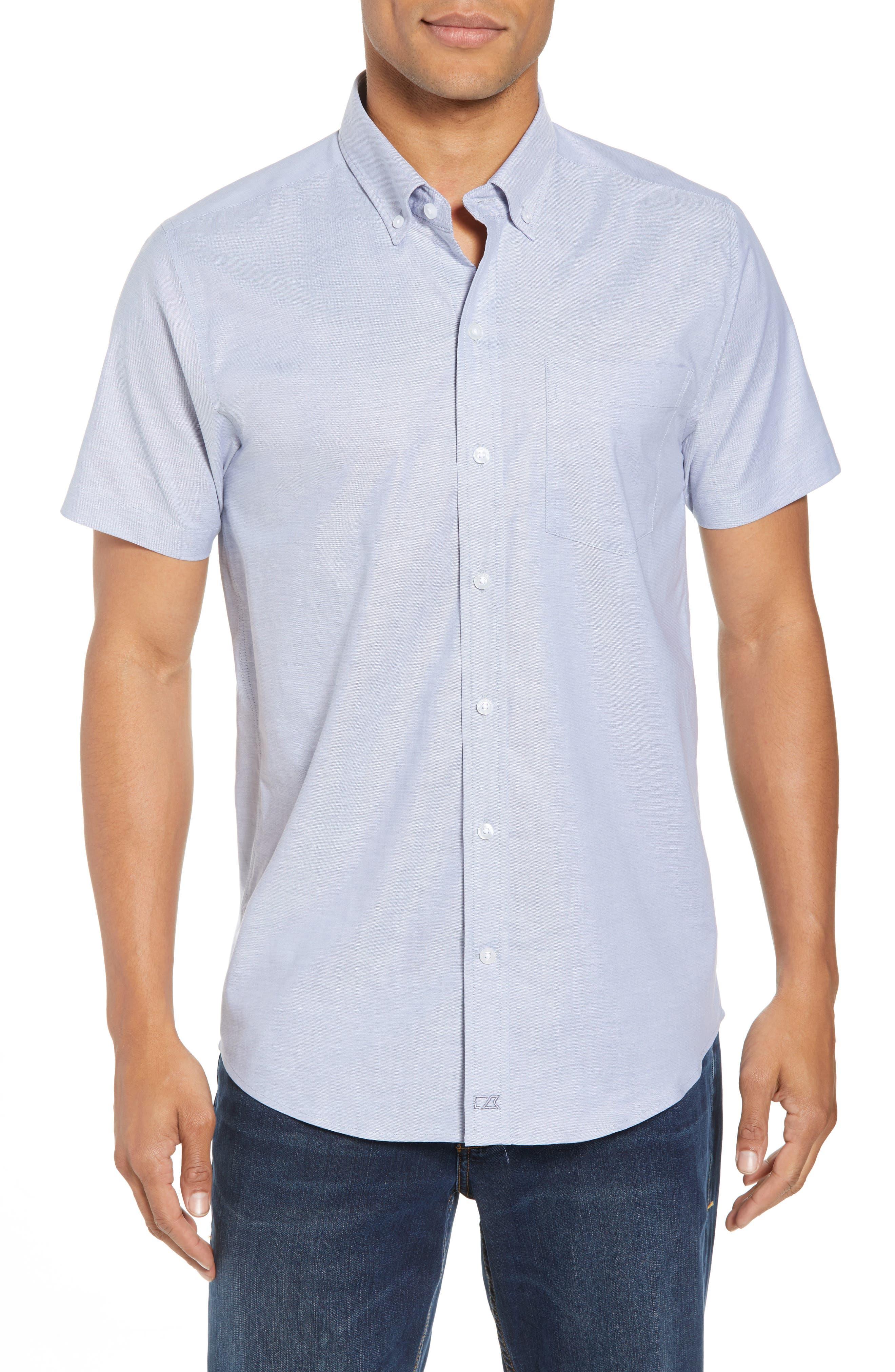 Cutter & Buck Tailor Regular Fit Oxford Sport Shirt, Blue