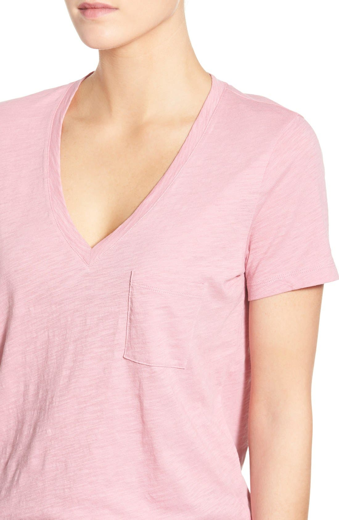 Whisper Cotton V-Neck Pocket Tee,                             Alternate thumbnail 77, color,