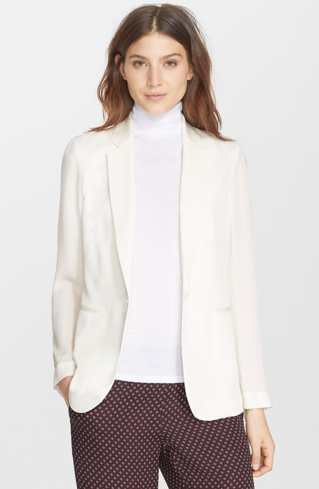 'Grinson CL' Single Button Silk Blazer,                             Main thumbnail 1, color,                             107