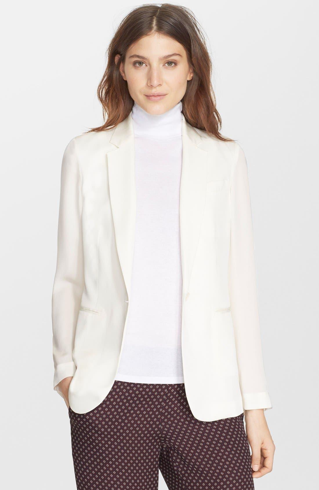 'Grinson CL' Single Button Silk Blazer, Main, color, 107