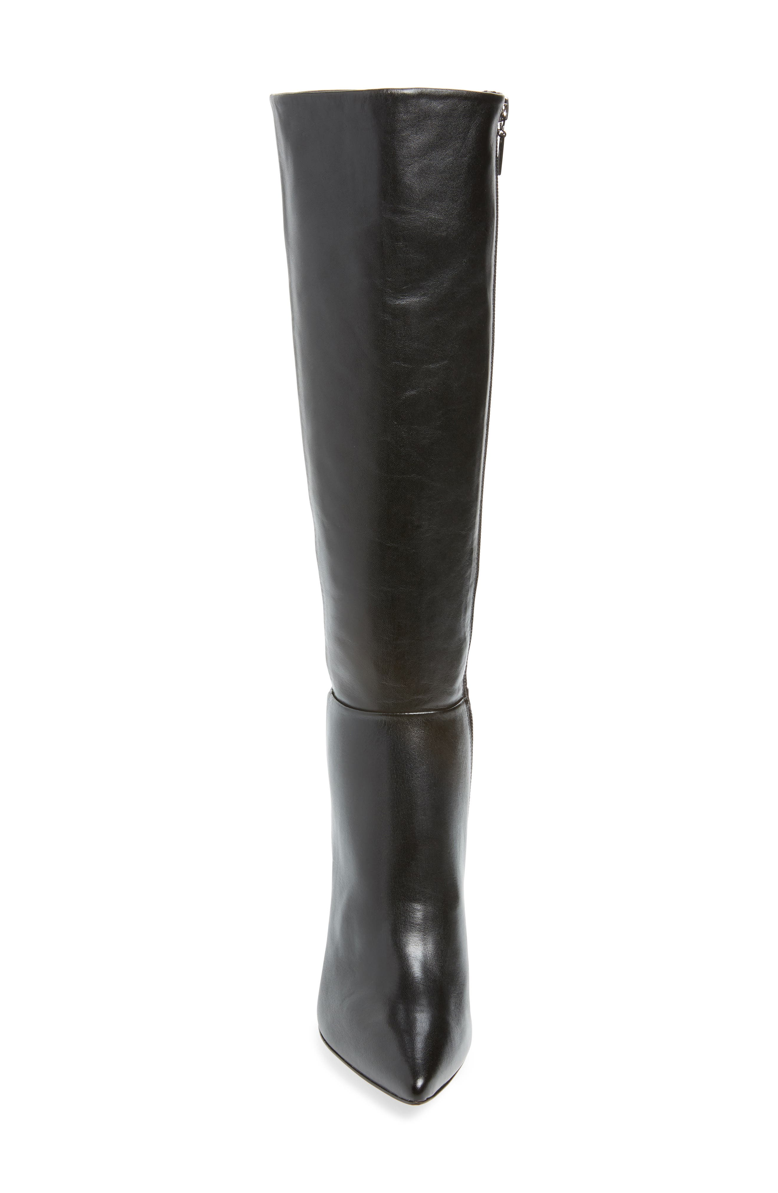 Magalli Knee High Boot,                             Alternate thumbnail 4, color,                             BLACK LEATHER