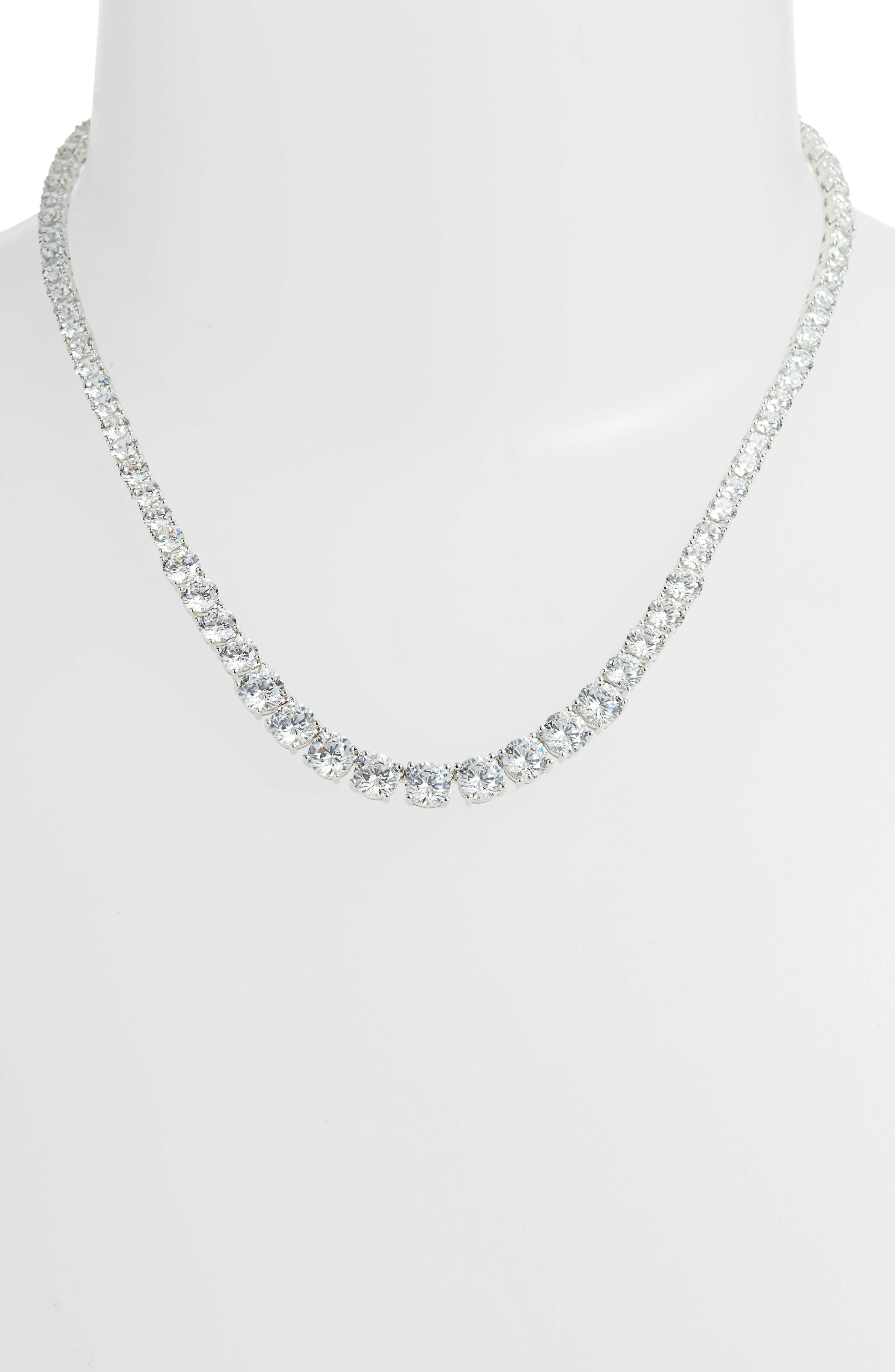 Cubic Zirconia Collar Necklace,                             Alternate thumbnail 3, color,                             SILVER