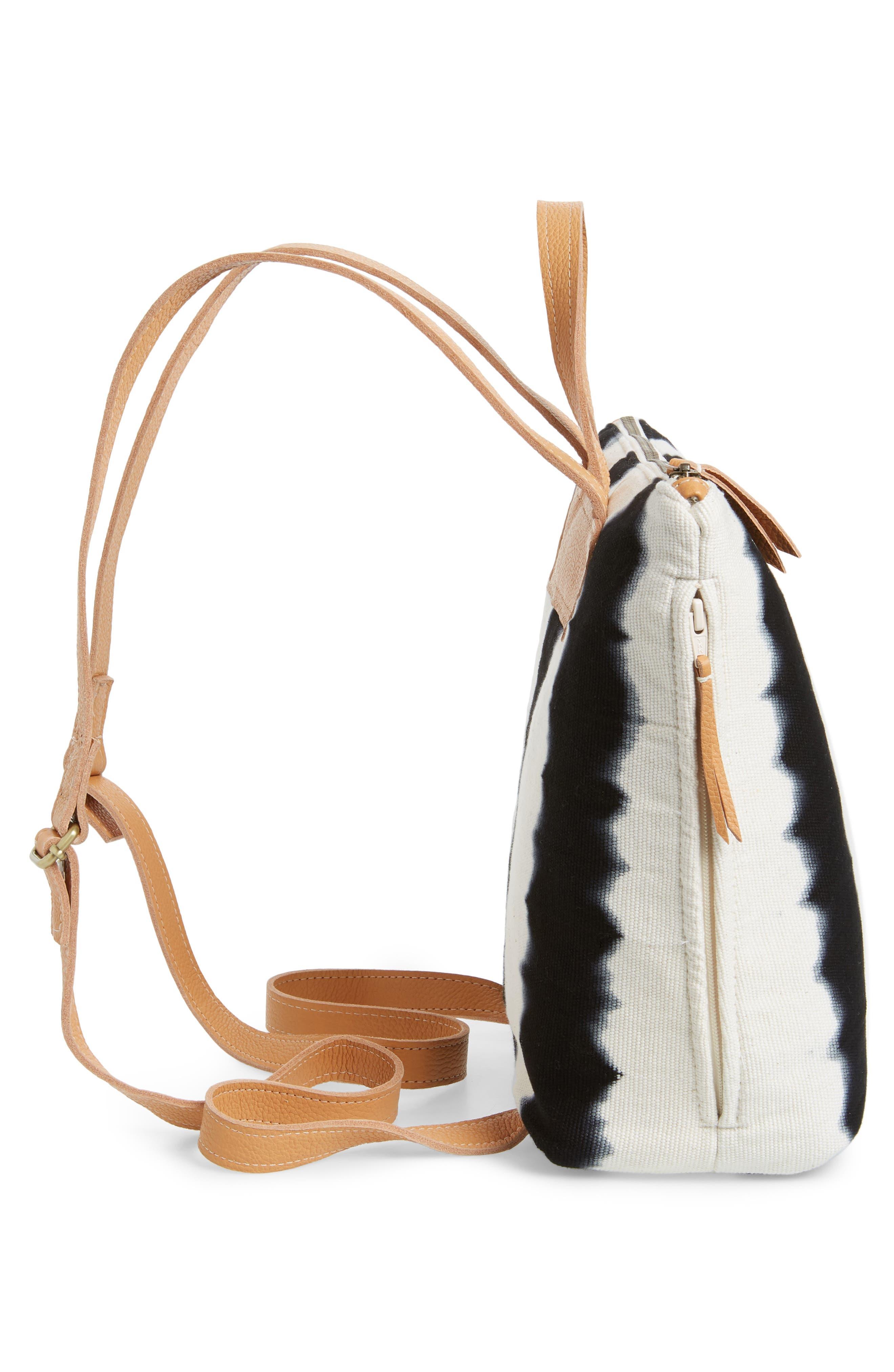 MERCADO GLOBAL,                             Mini Lorena Woven Backpack,                             Alternate thumbnail 5, color,                             BLACK HAND DYE