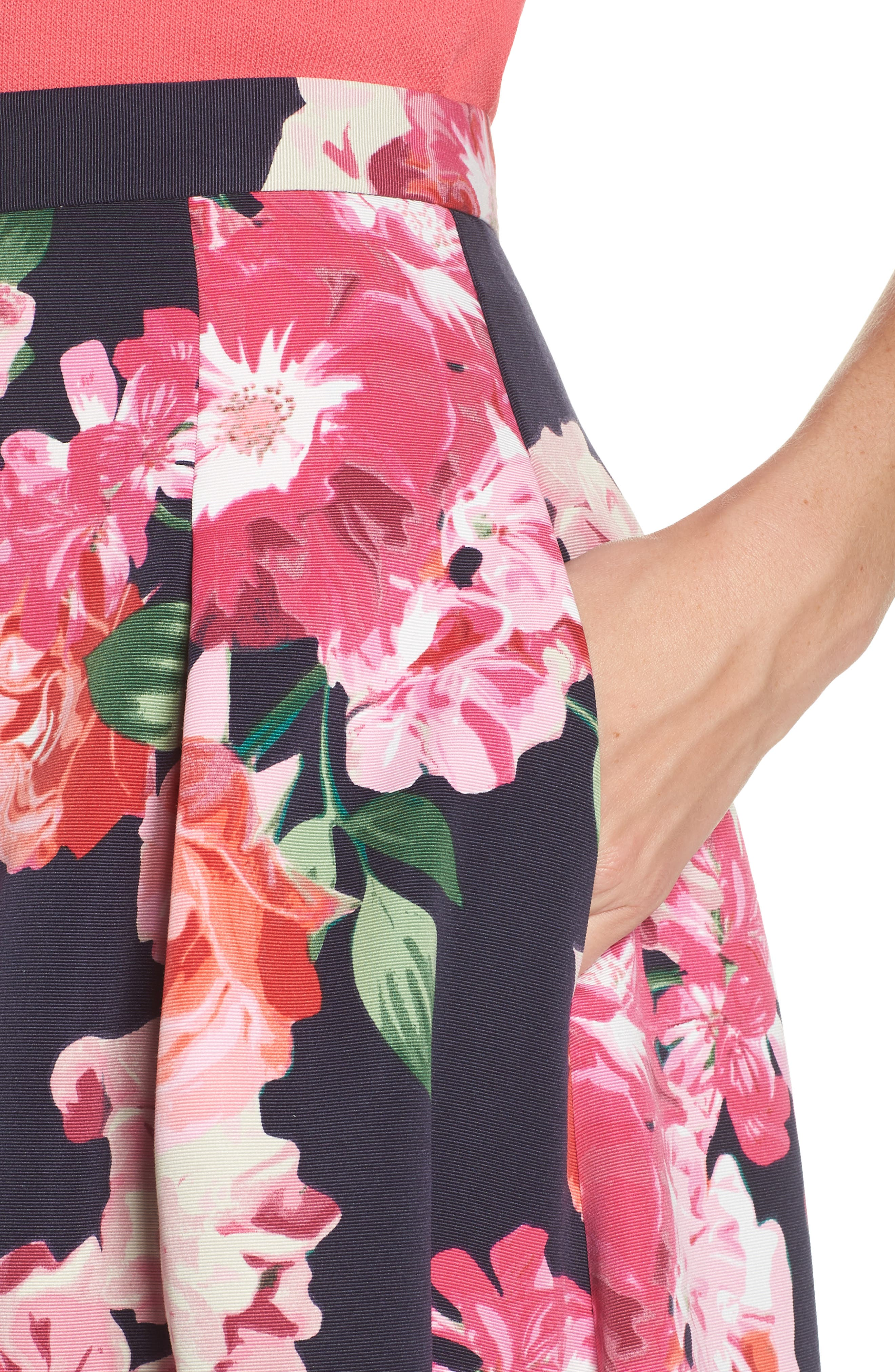 ELIZA J,                             Floral High/Low Skirt,                             Alternate thumbnail 4, color,                             411