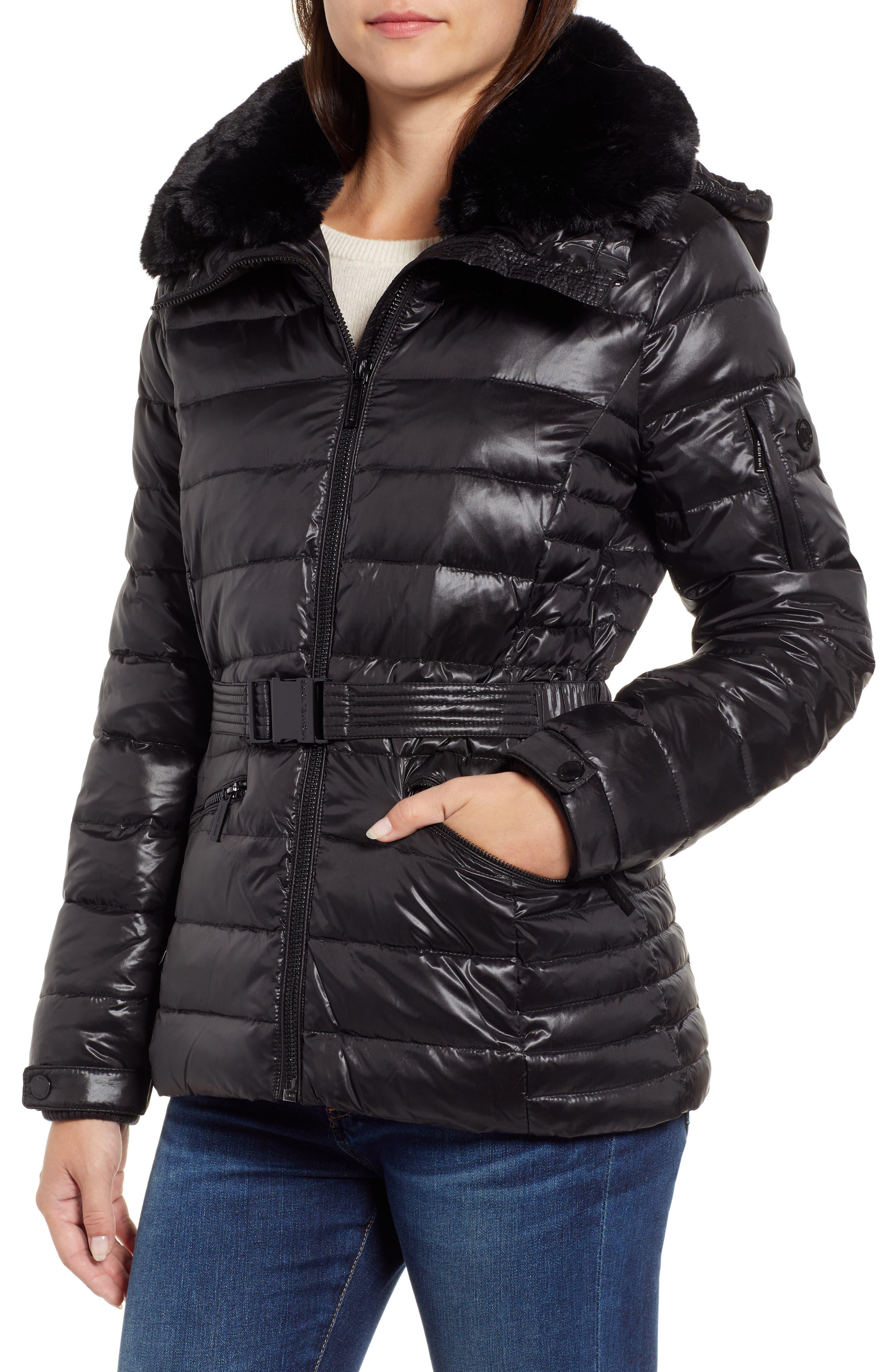 Faux Fur Puffer Jacket,                             Main thumbnail 1, color,                             001