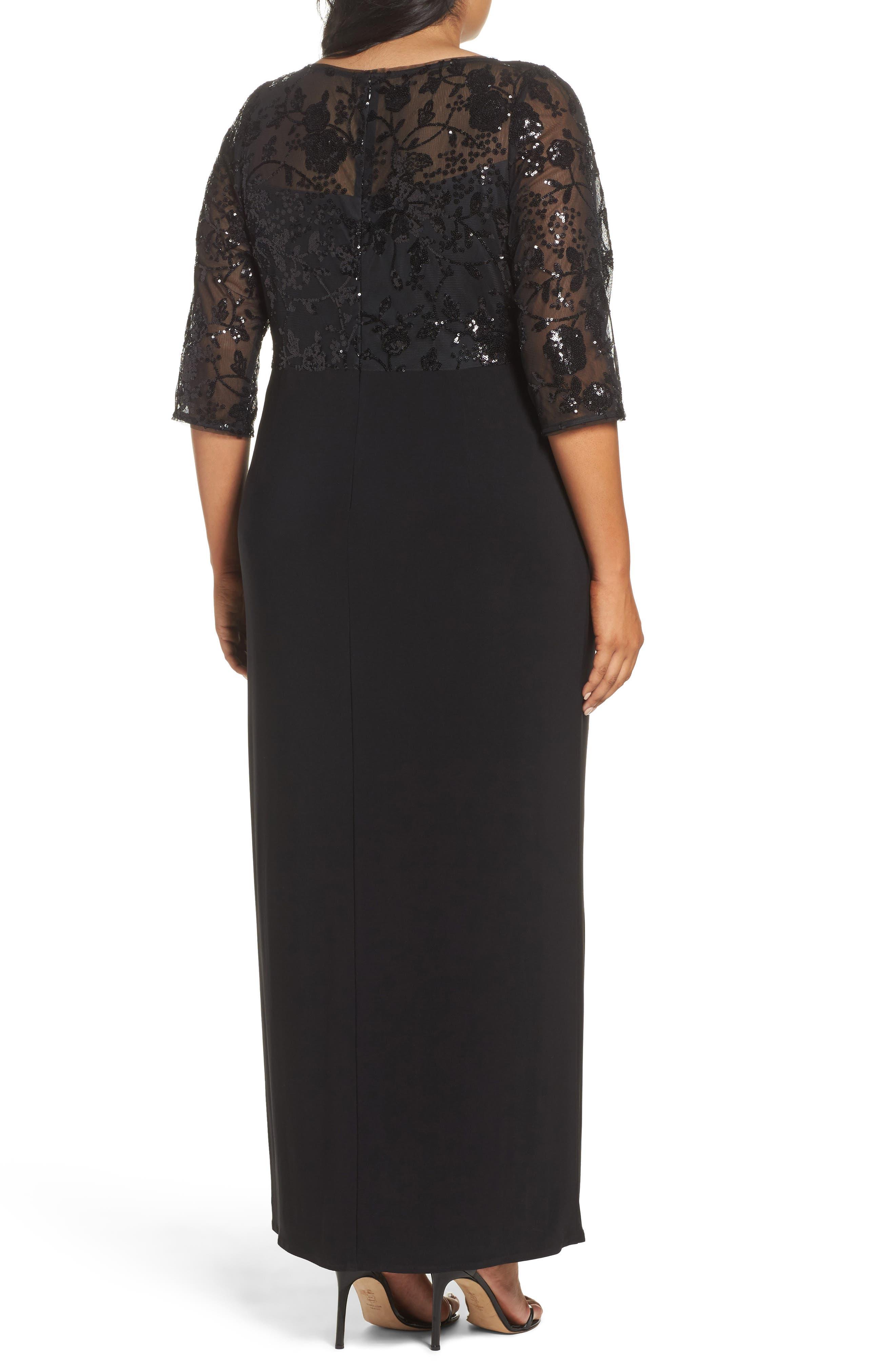 Sequin Mesh & Jersey Column Gown,                             Alternate thumbnail 2, color,                             001