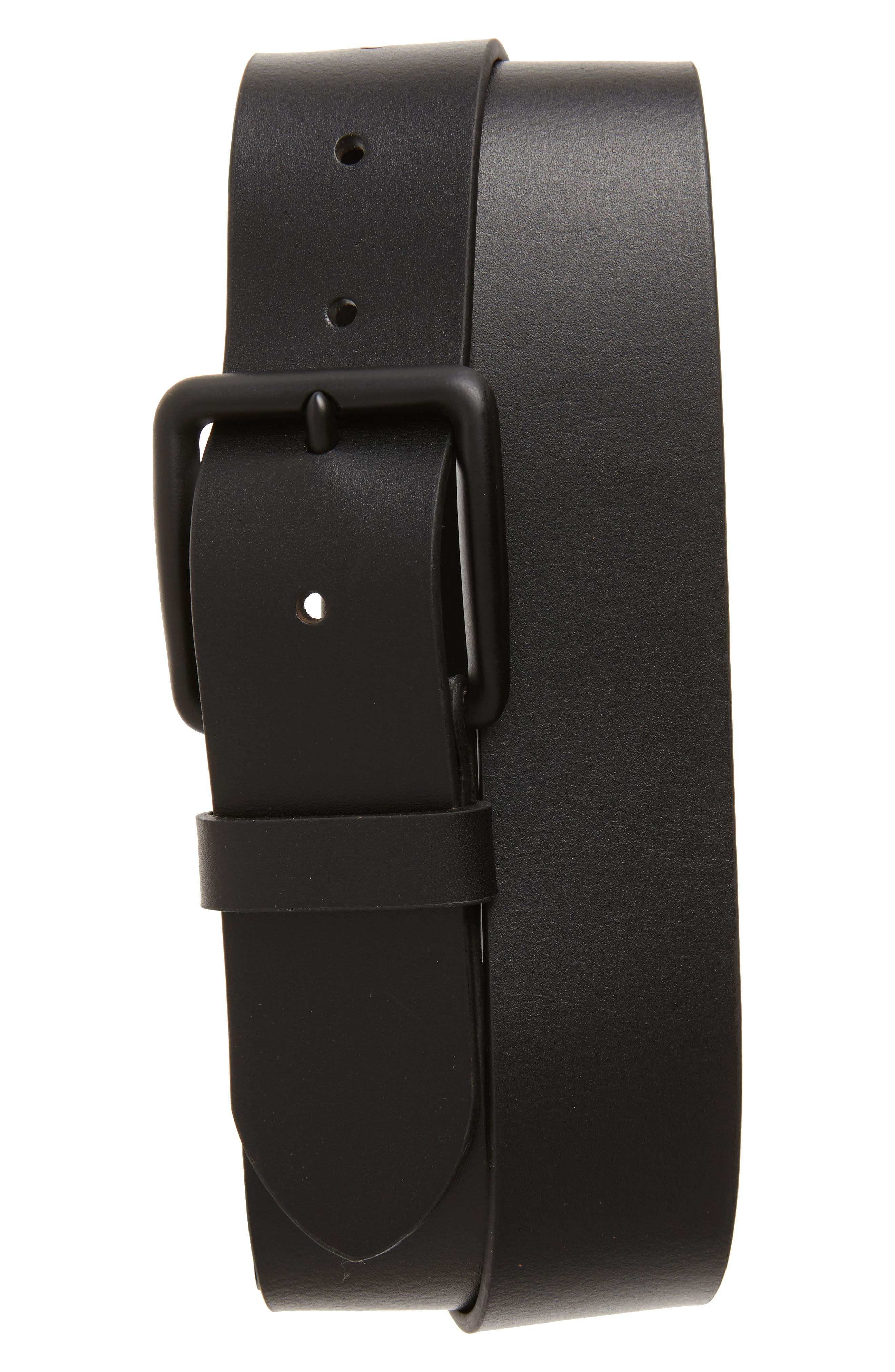 Garrett Leather Belt,                         Main,                         color, BLACK