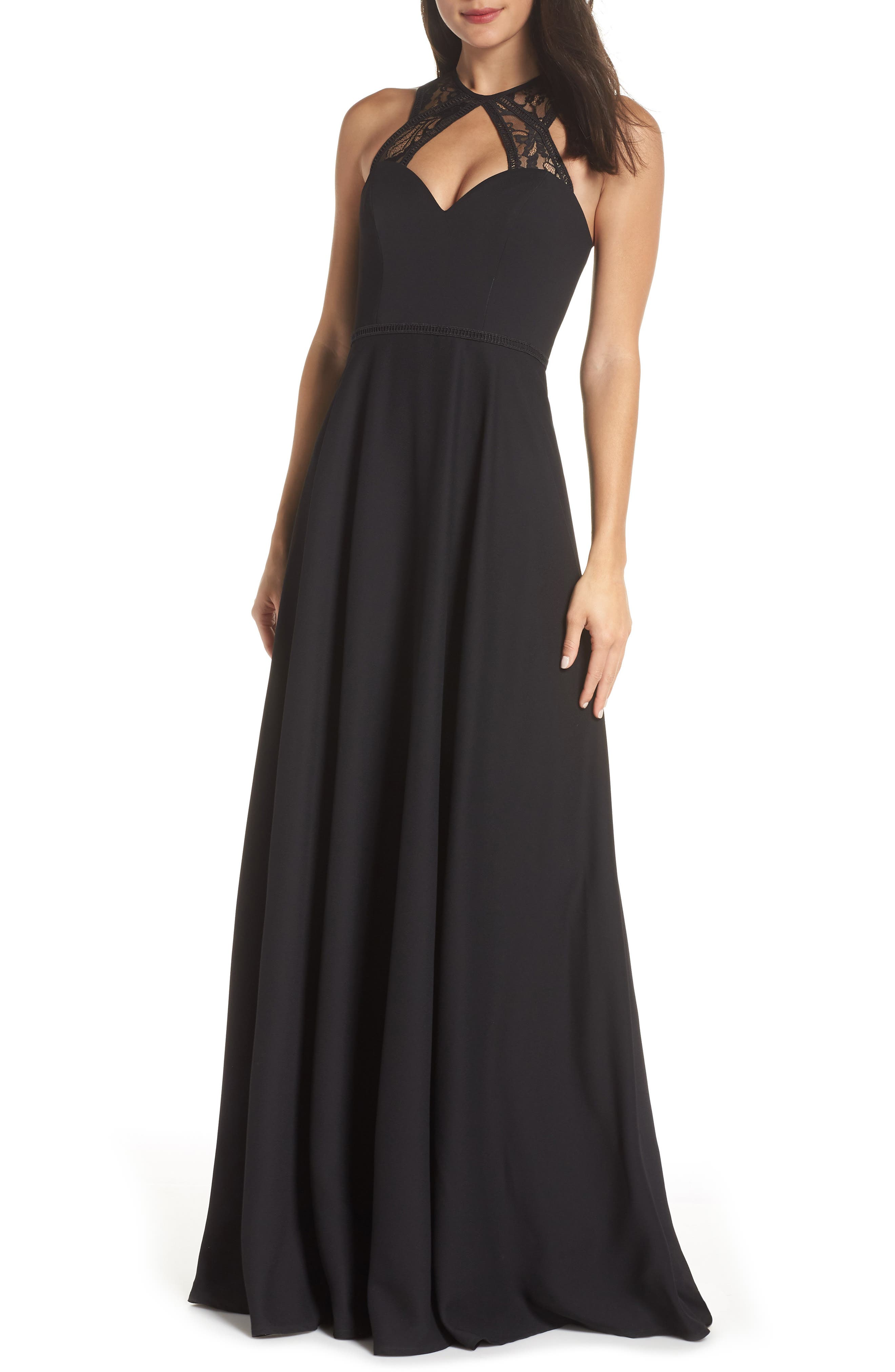 Hayley Paige Occasions Lace & Chiffon Halter Gown