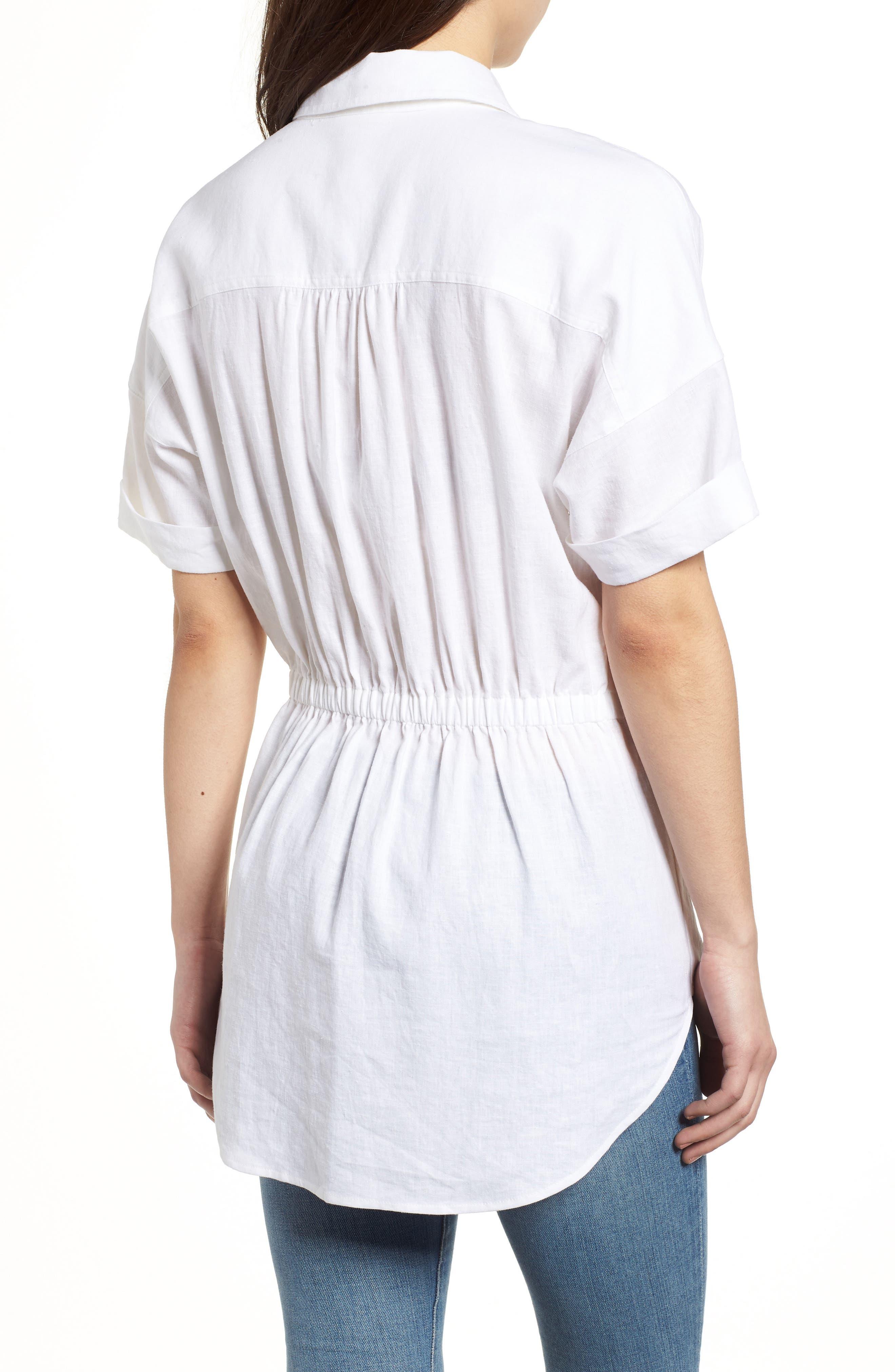 Twist Front Linen Blend Shirt,                             Alternate thumbnail 2, color,                             100