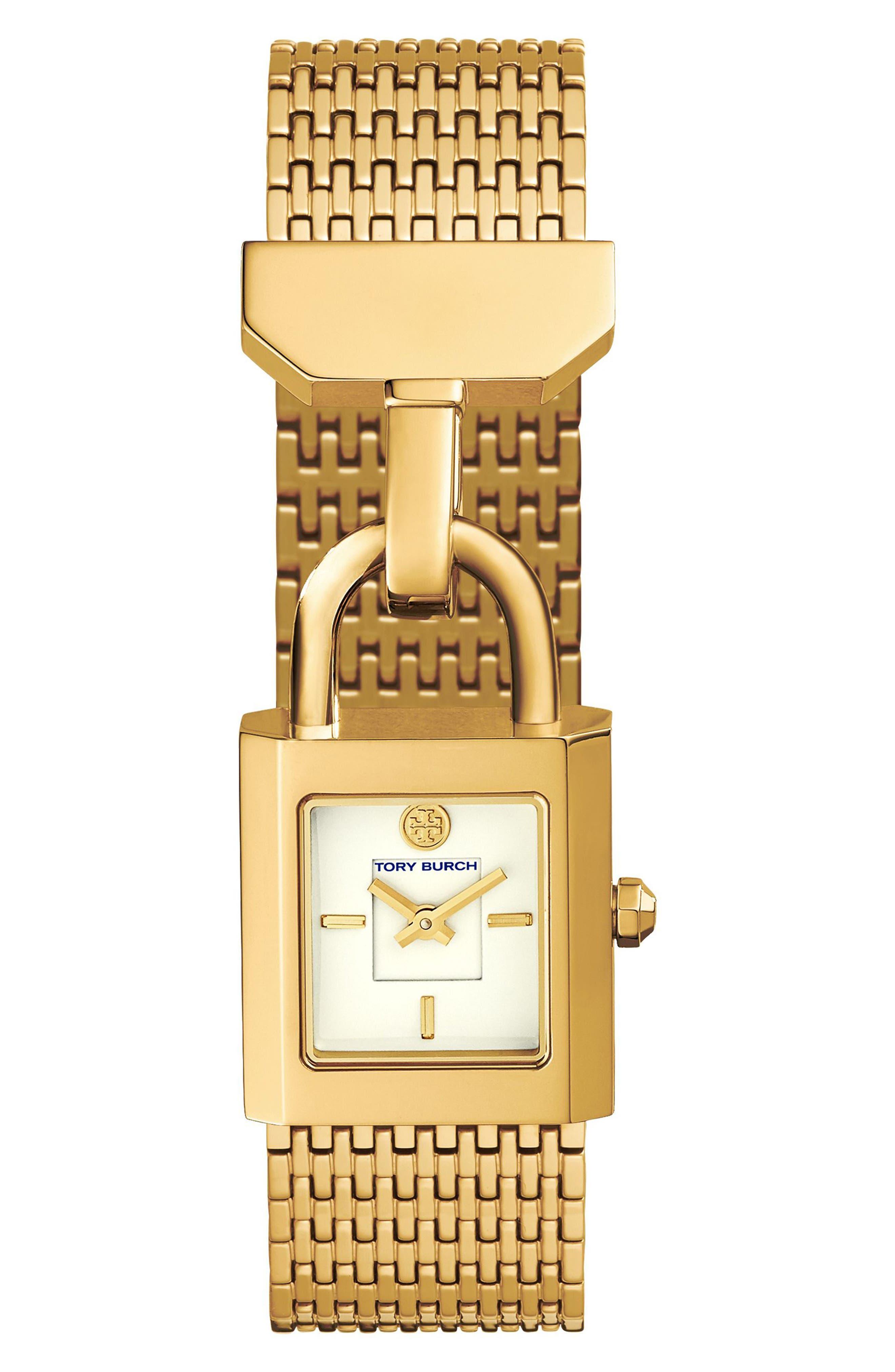 Surrey Mesh Bracelet Watch, 22mm x 23.5mm,                         Main,                         color, GOLD/ IVORY/ GOLD