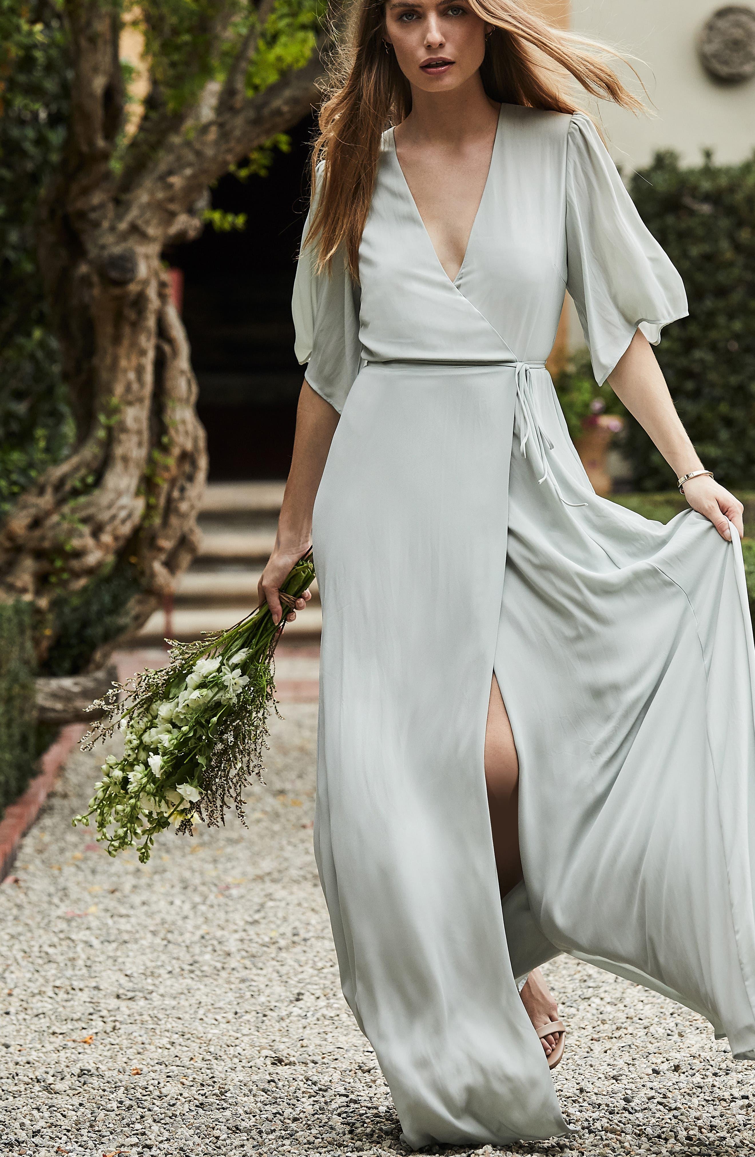 WAYF,                             The Aurelia Short Sleeve Wrap Evening Dress,                             Alternate thumbnail 8, color,                             SAGE