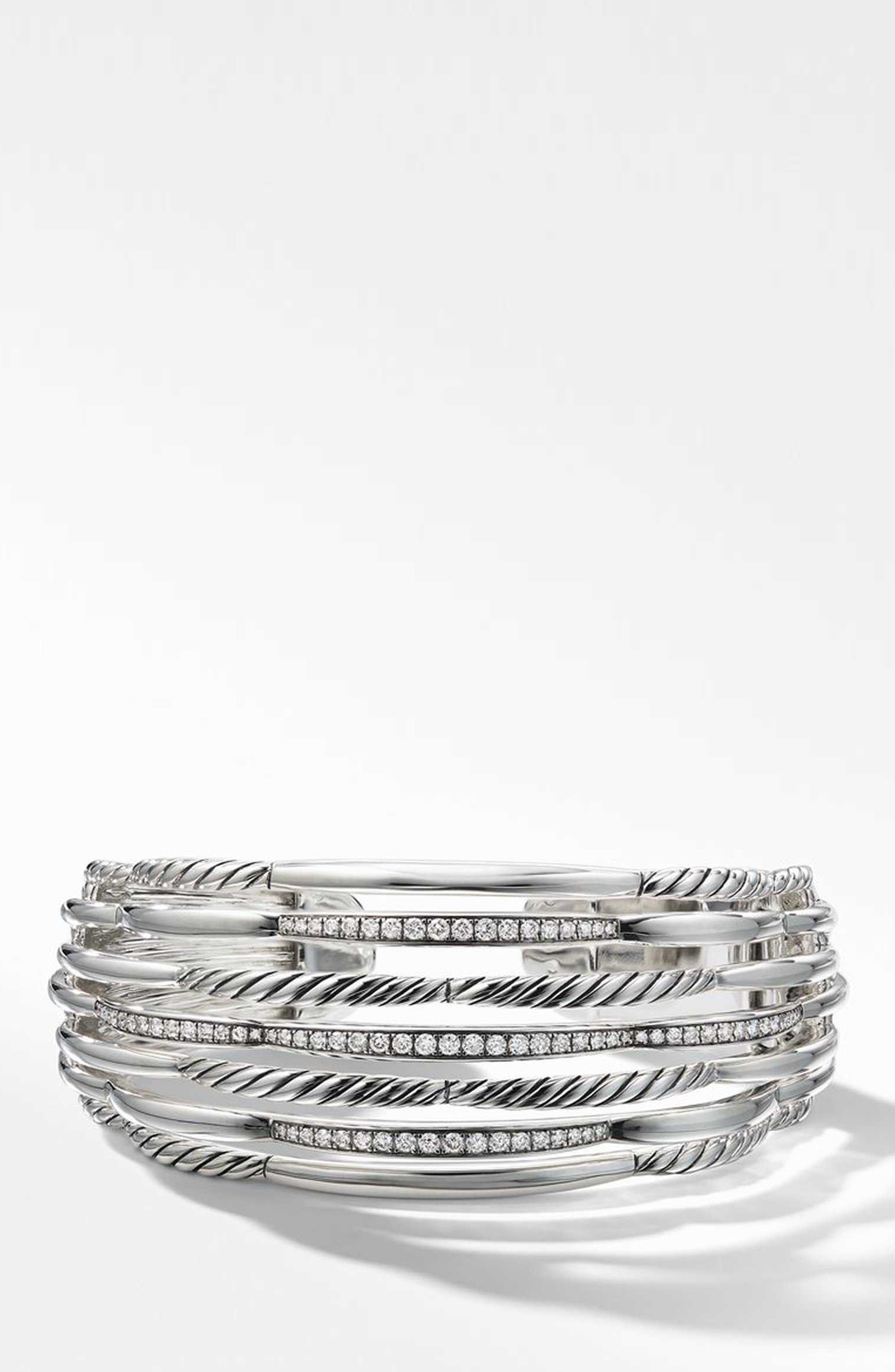 Wide Woven Cuff Bracelet with Diamonds,                             Main thumbnail 1, color,                             STERLING SILVER/ DIAMOND