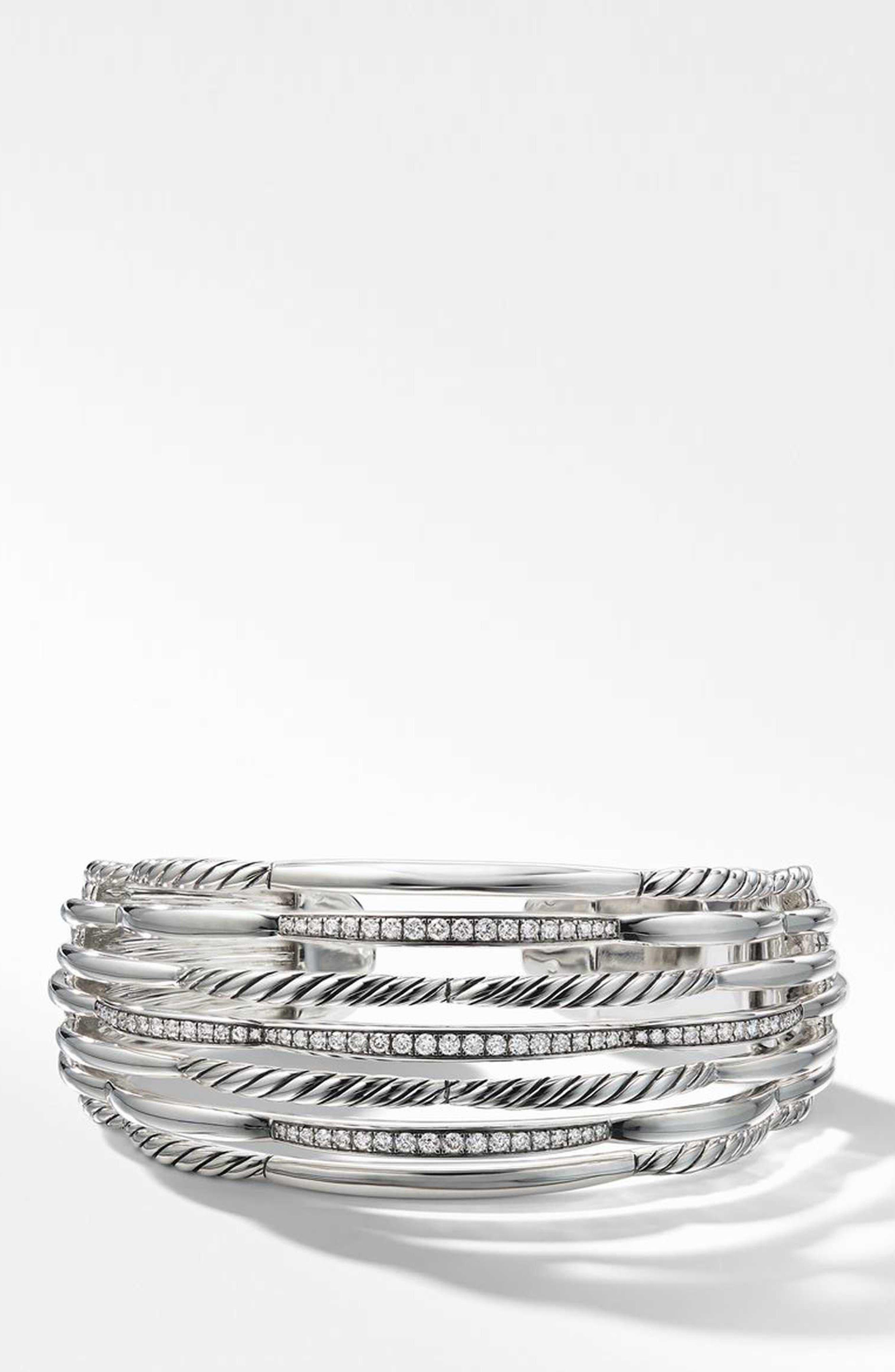 Wide Woven Cuff Bracelet with Diamonds,                         Main,                         color, STERLING SILVER/ DIAMOND