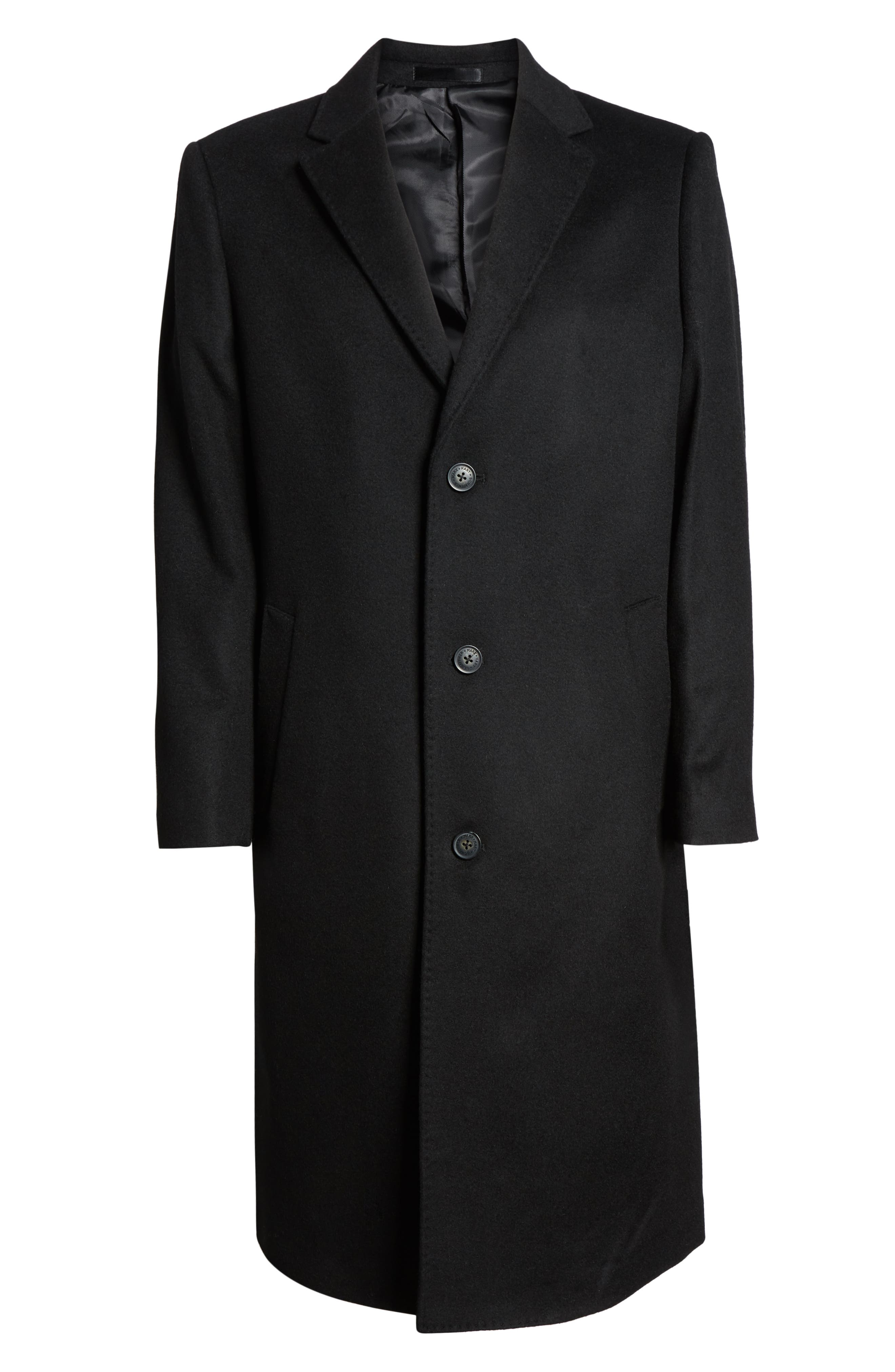 Sheffield Classic Fit Wool & Cashmere Overcoat,                             Alternate thumbnail 2, color,                             BLACK