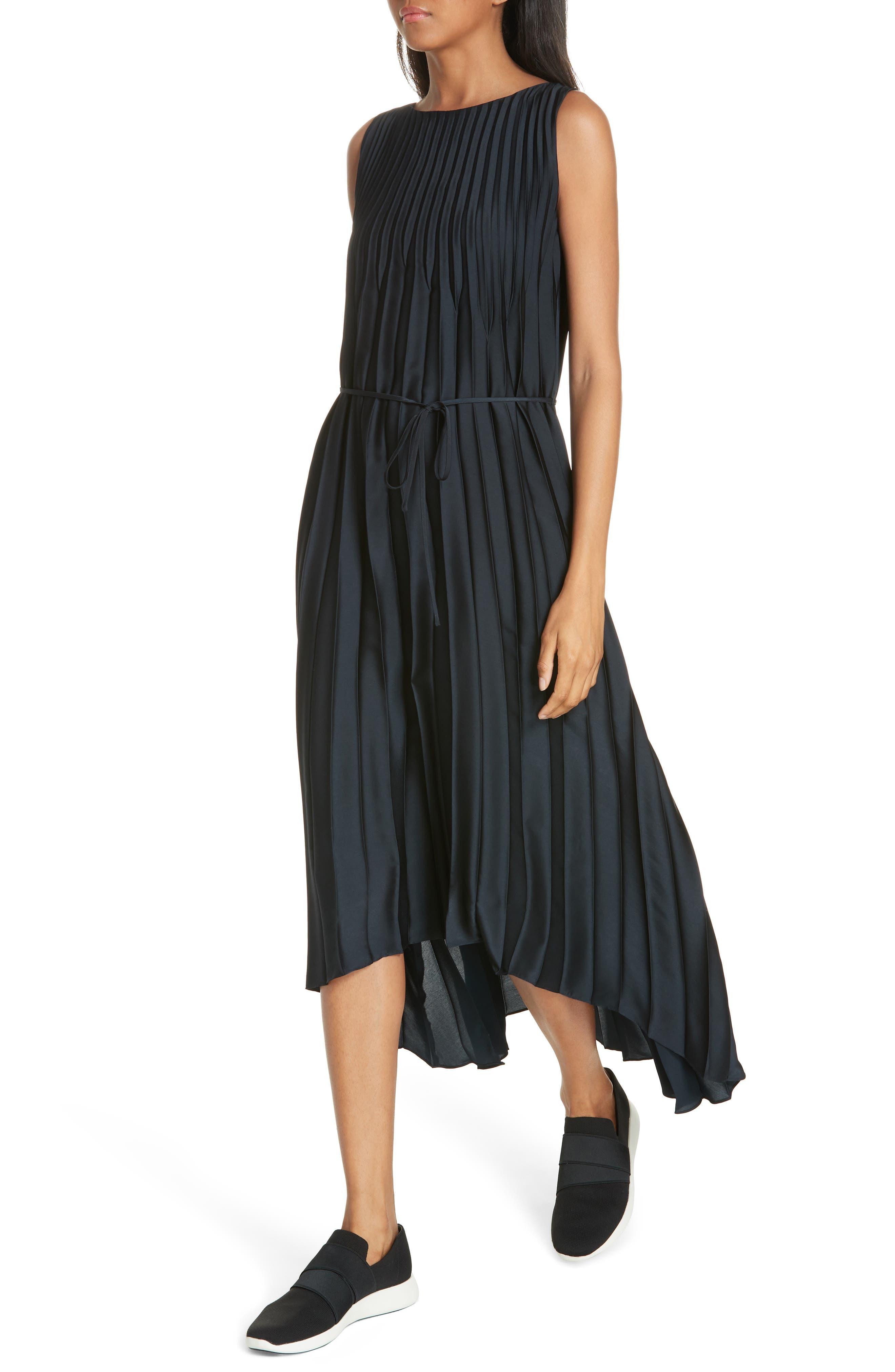Chevron Pleat Midi Dress,                             Alternate thumbnail 4, color,                             COASTAL