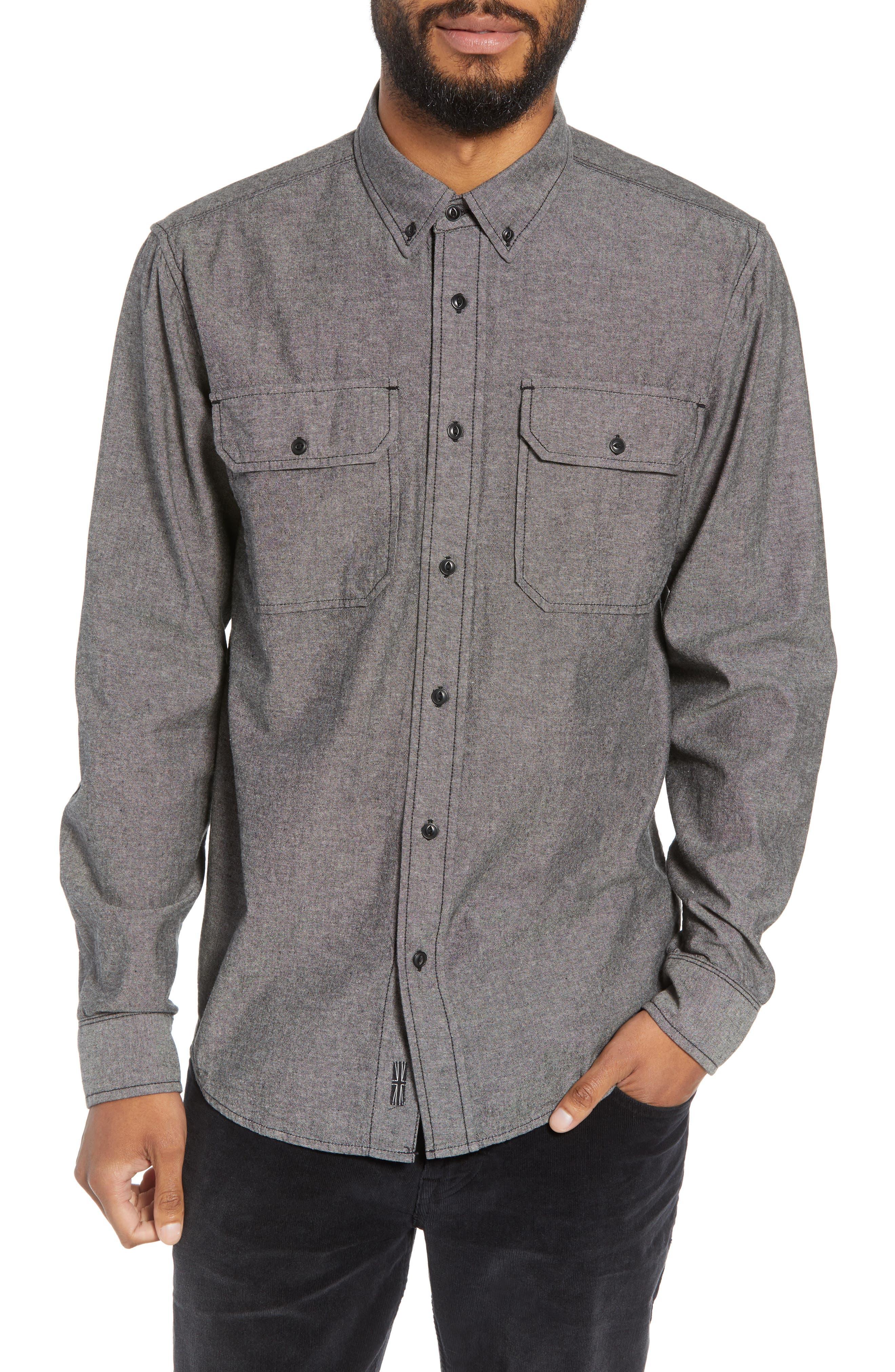 Hudson Regular Fit Chambray Sport Shirt, Main, color, 035